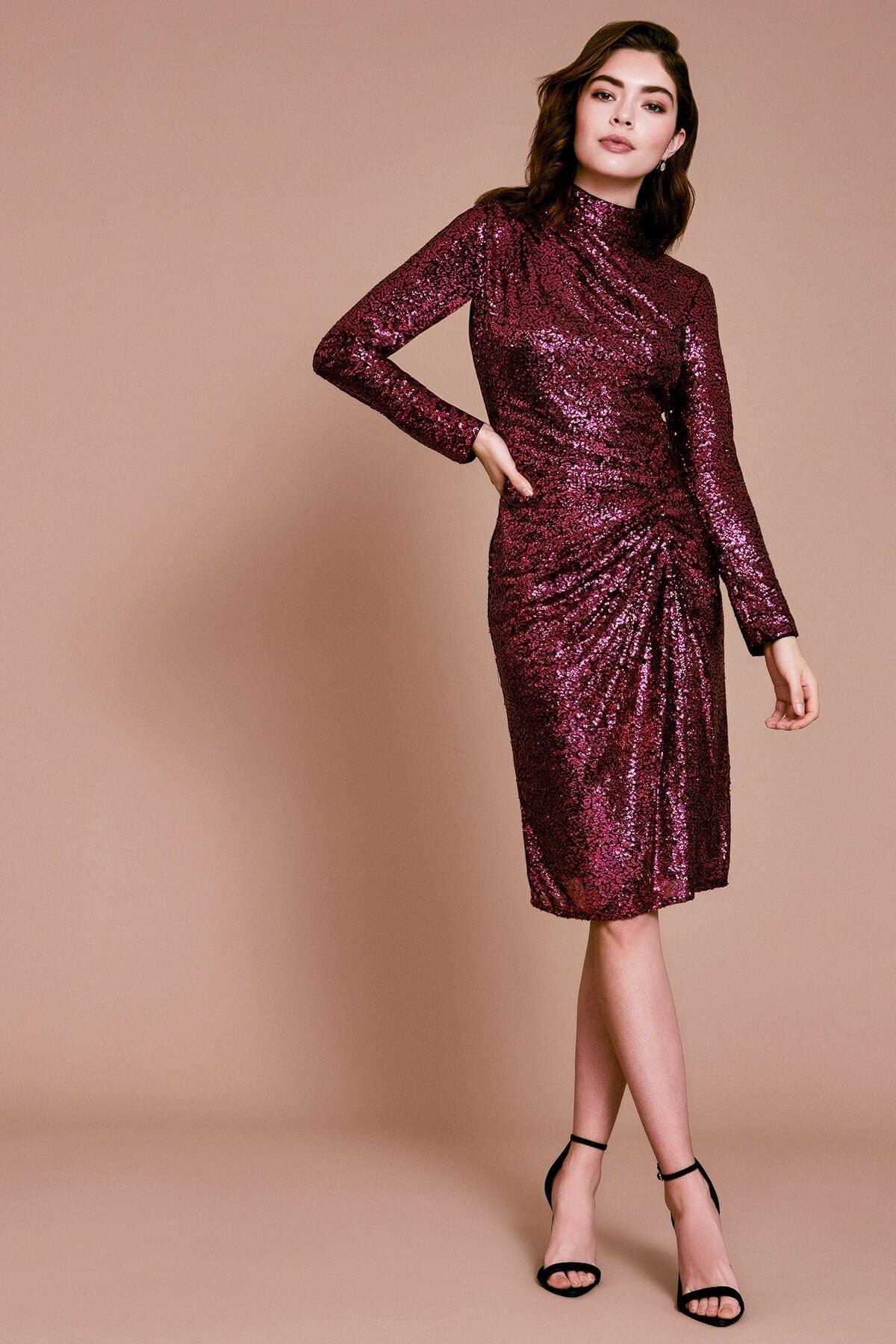 TADASHI SHOJI Rani Long-sleeve Sequin Dress
