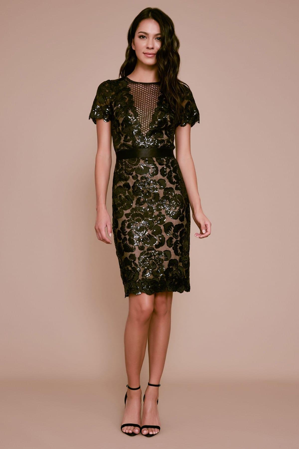 TADASHI SHOJI Riel Floral Sequin Embroidered Dress