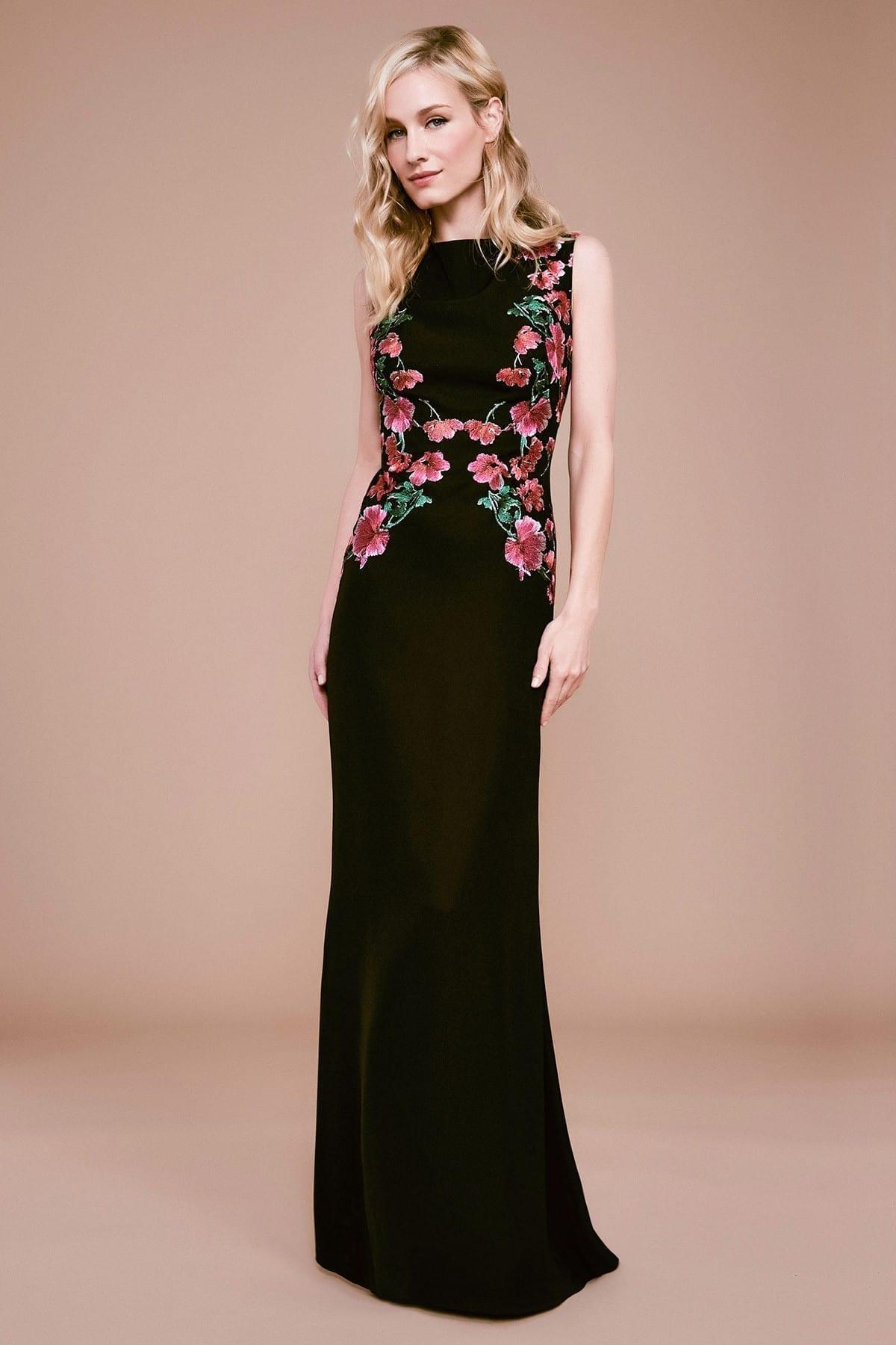 TADASHI SHOJI Samar Floral Embroidered Lace Gown