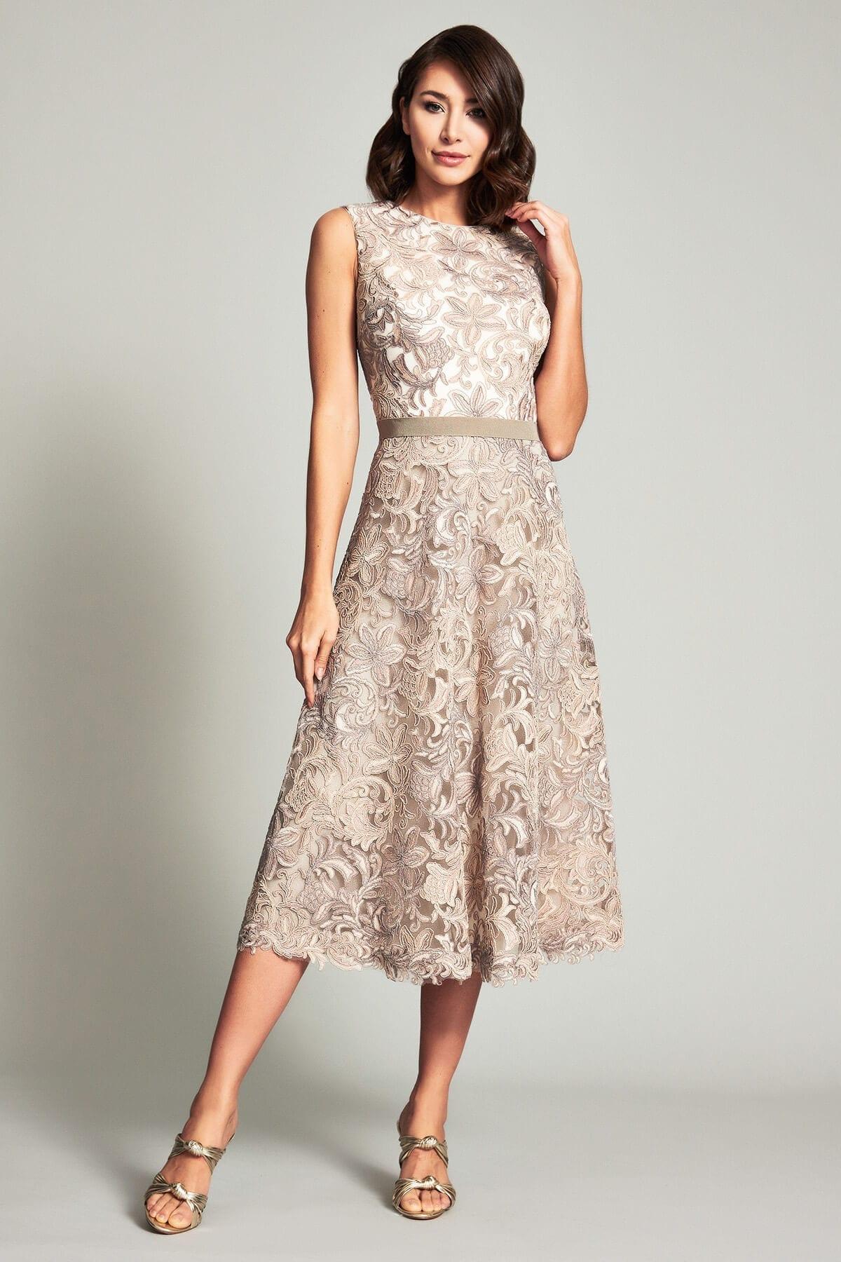 TADASHI SHOJI Stroker Metallic A-line Dress
