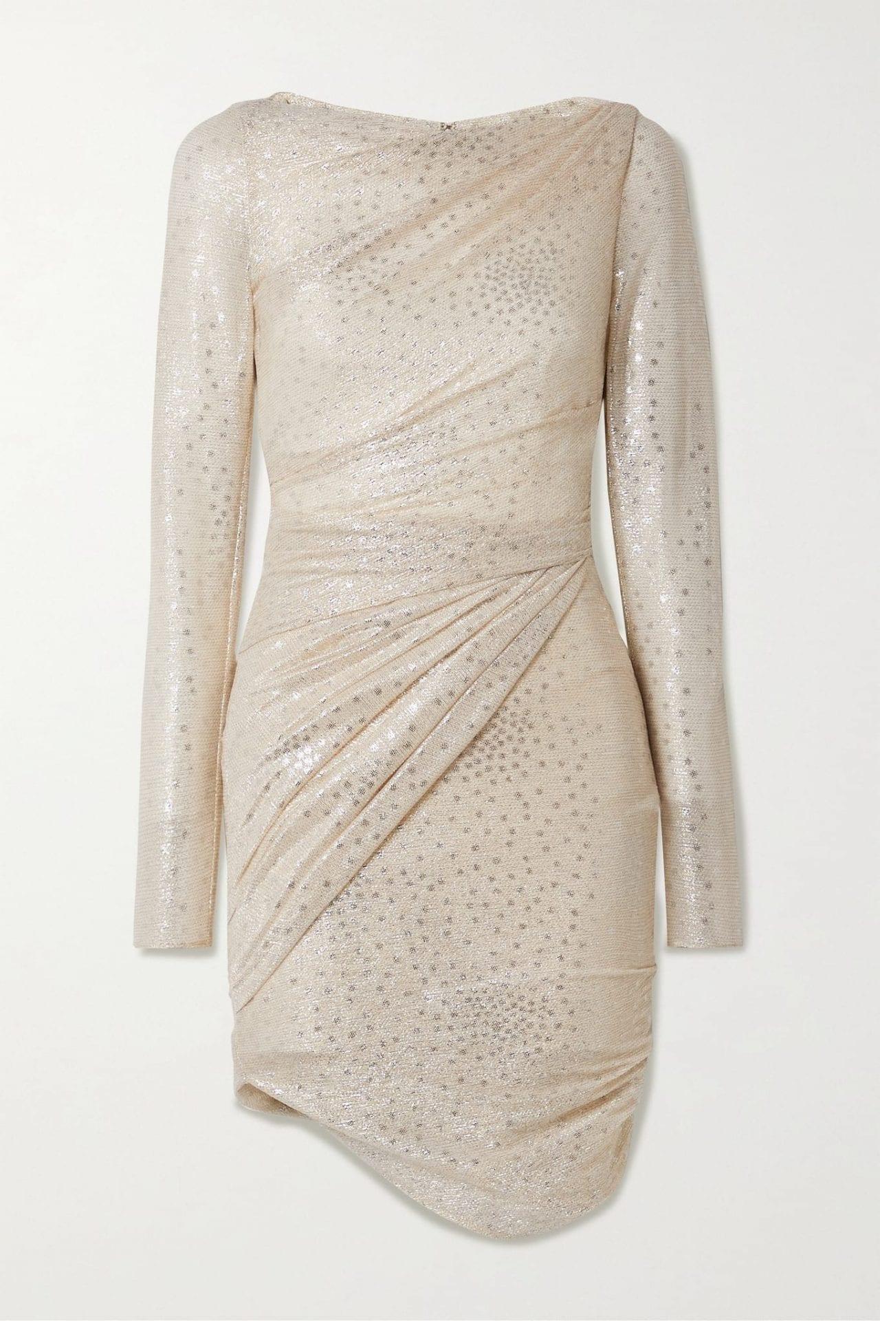 TALBOT RUNHOF Botanic1 Ruched Metallic Voile Mini Dress