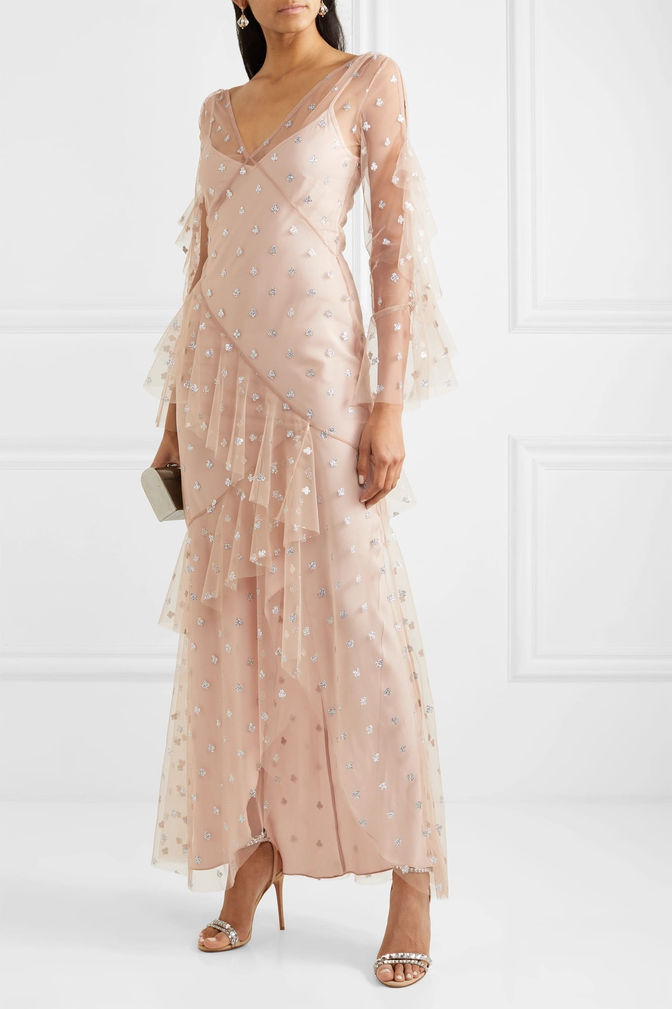 TEMPERLEY LONDON Fortuna Ruffled Glittered Tulle Gown