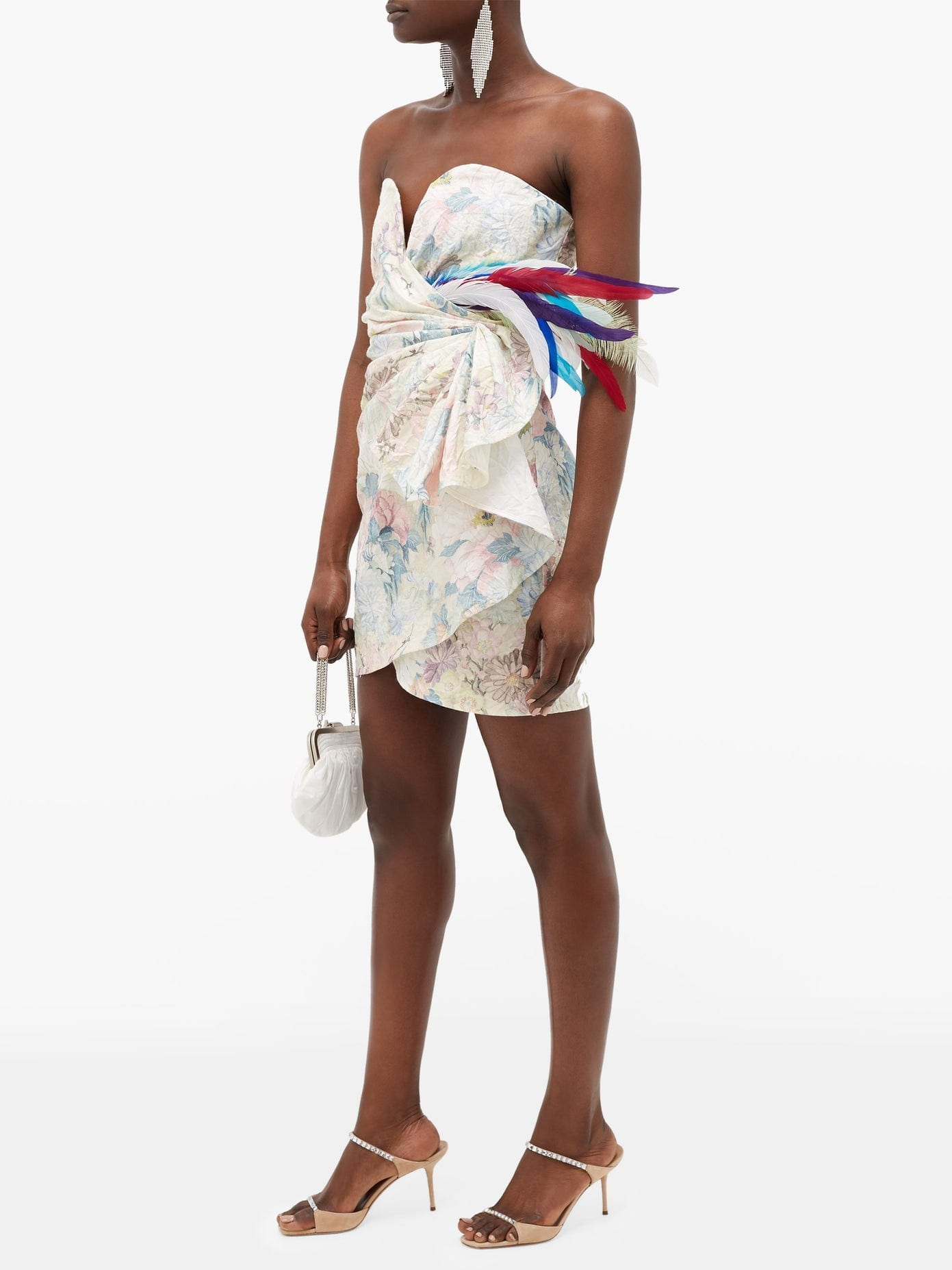 THE ATTICO Floral-print Feather-trimmed Strapless Mini Dress