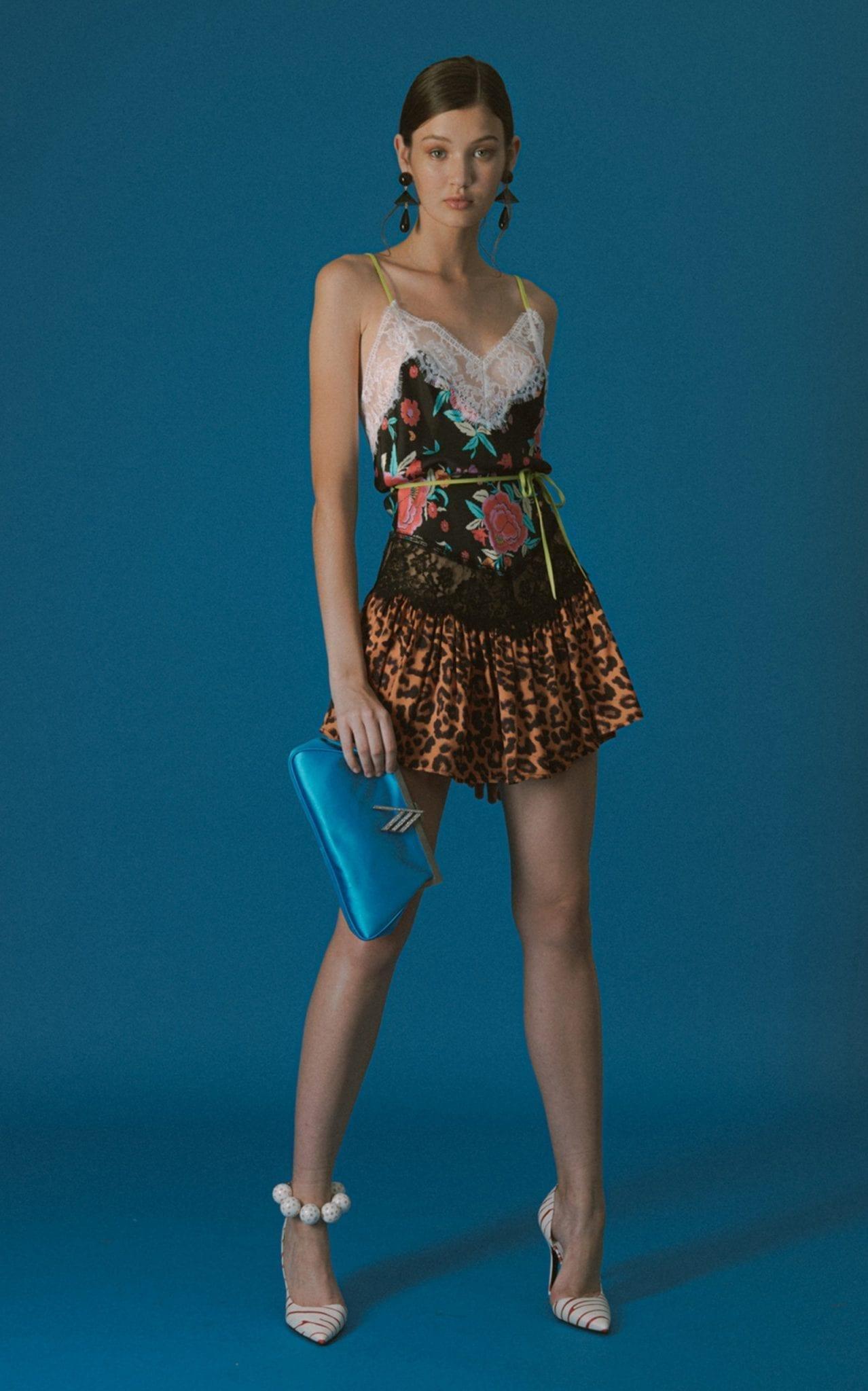 THE ATTICO Multi-Print Leavers Lace Crepe Dress