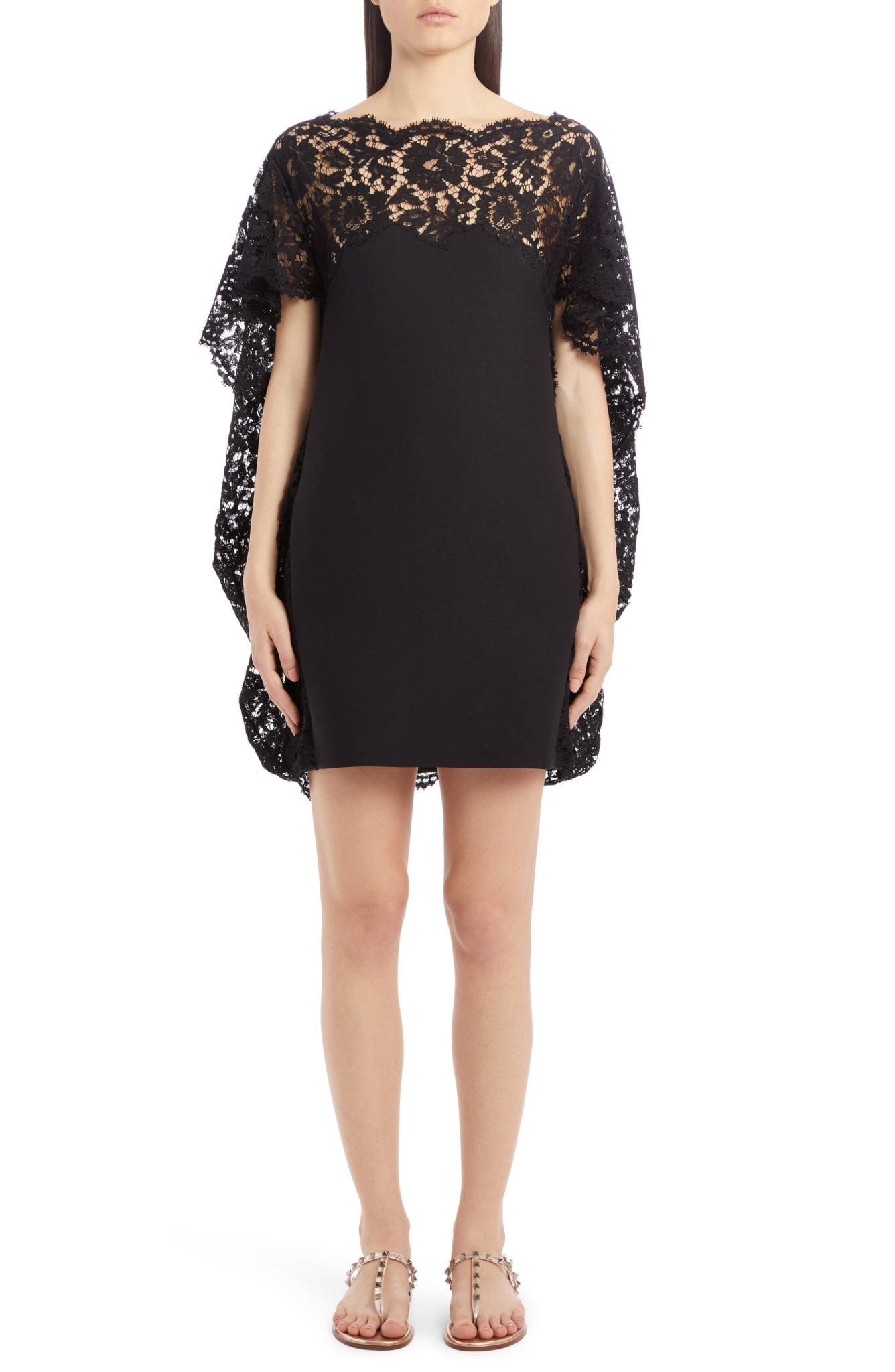 VALENTINO Lace Cape Mini Dress
