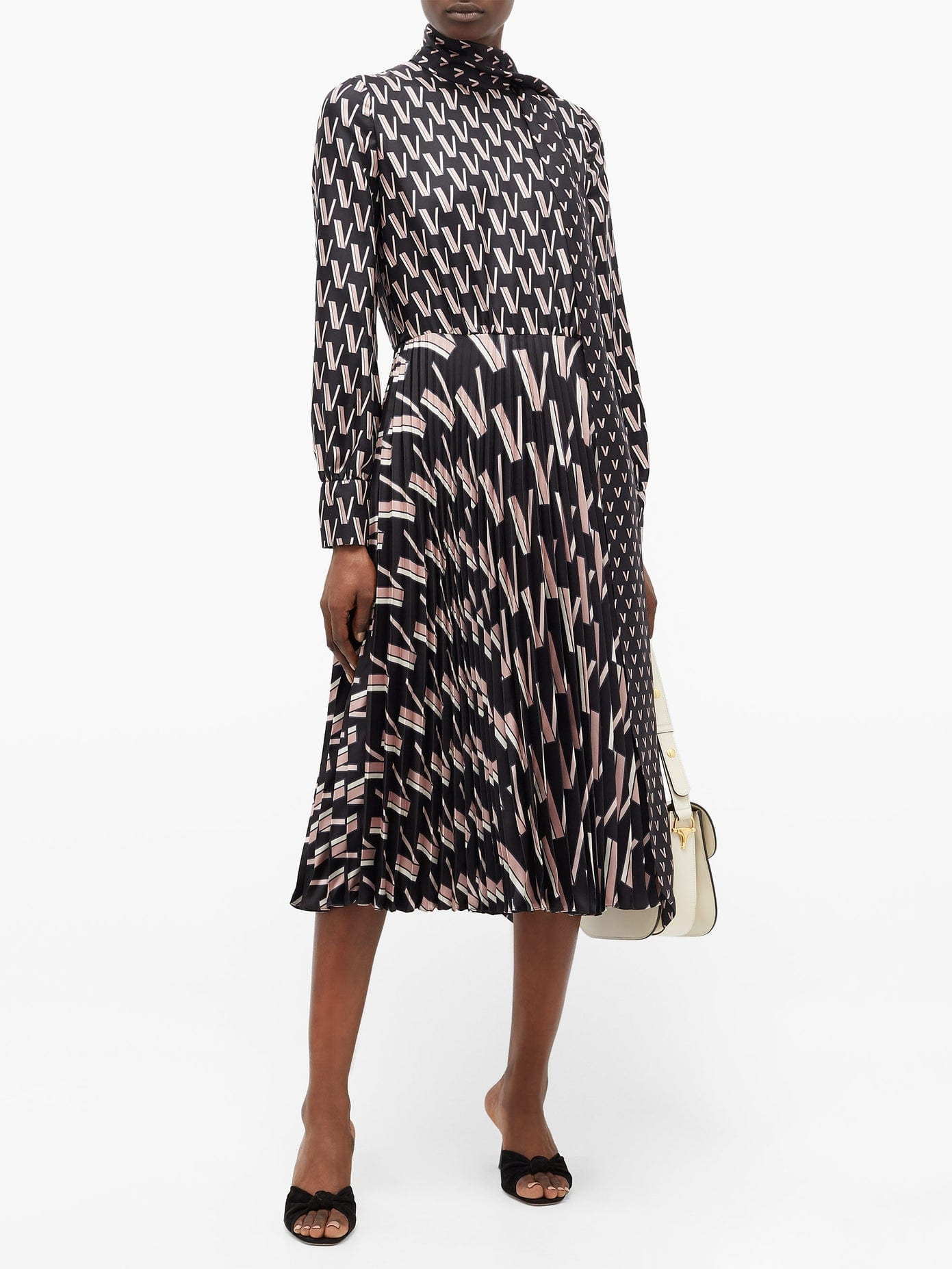 VALENTINO Pussy-bow V-print Silk-satin Dress