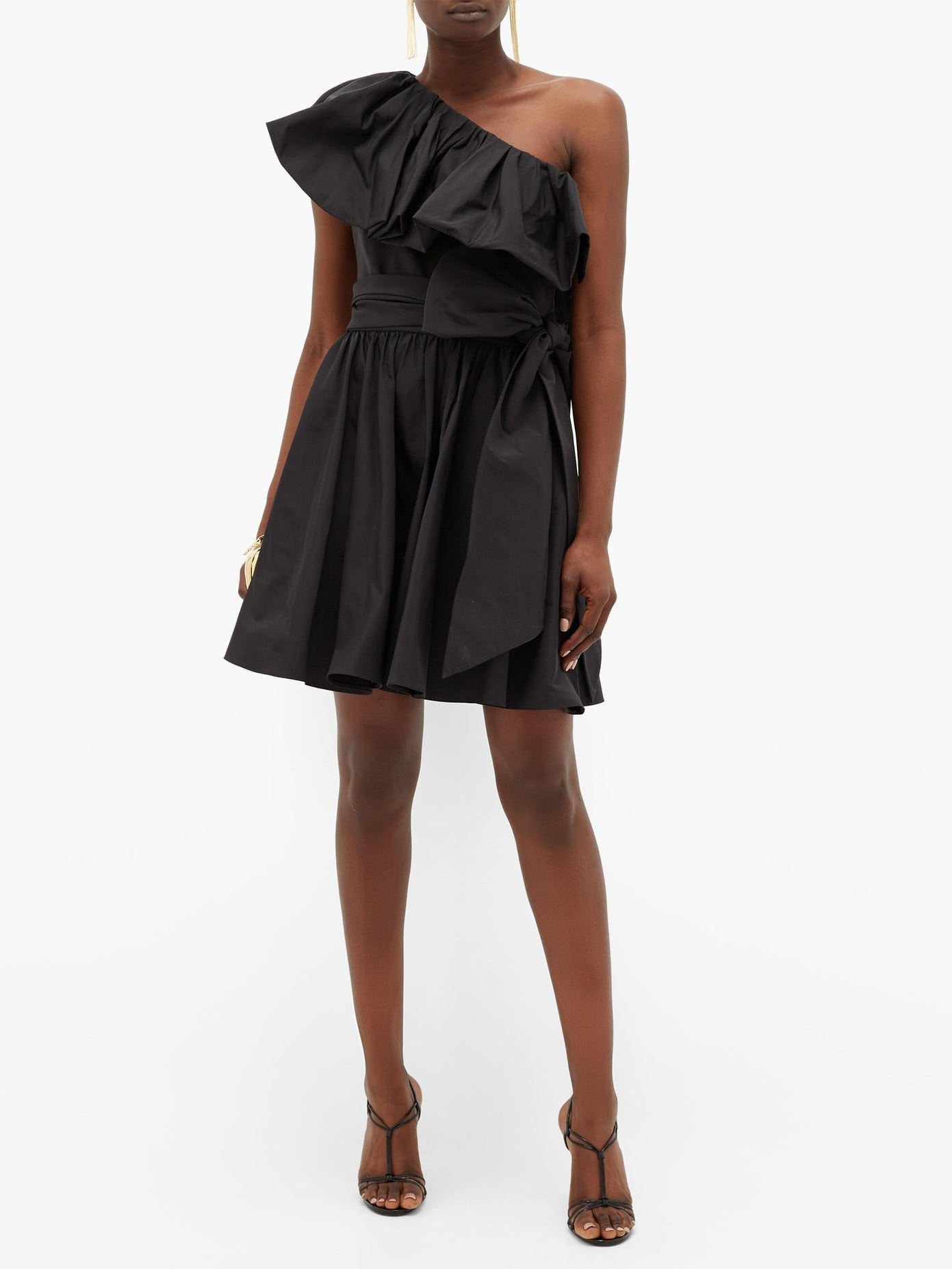 VALENTINO Ruffled One-shoulder Cotton-blend Mini Dress