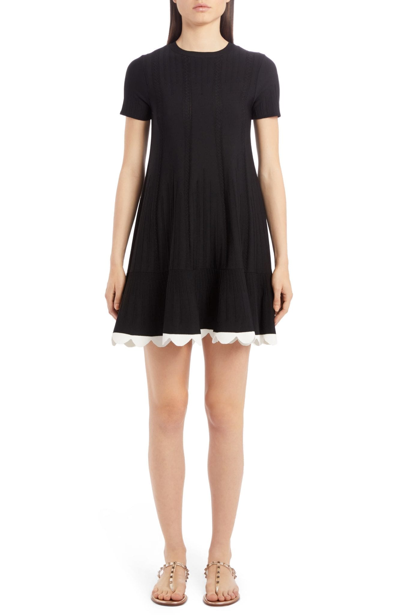 VALENTINO Scalloped Hem Pointelle Rib Sweater Dress