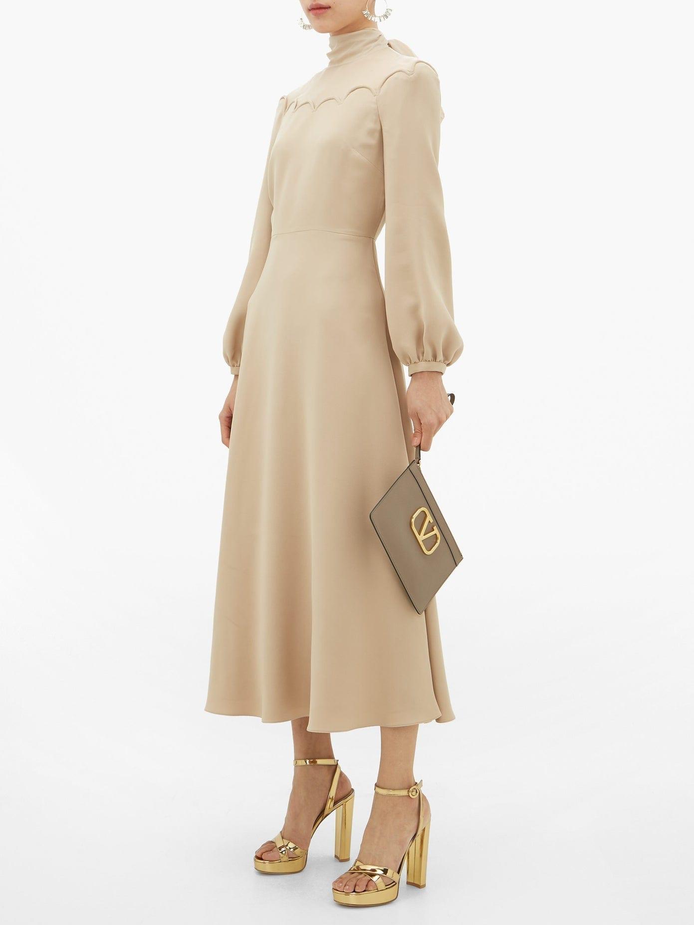 VALENTINO Tie-neck Silk-cady Midi Dress