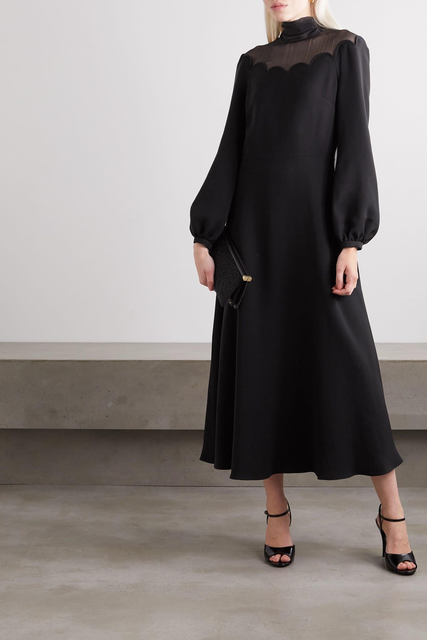VALENTINO Tulle-trimmed Scalloped Silk-crepe Midi Dress