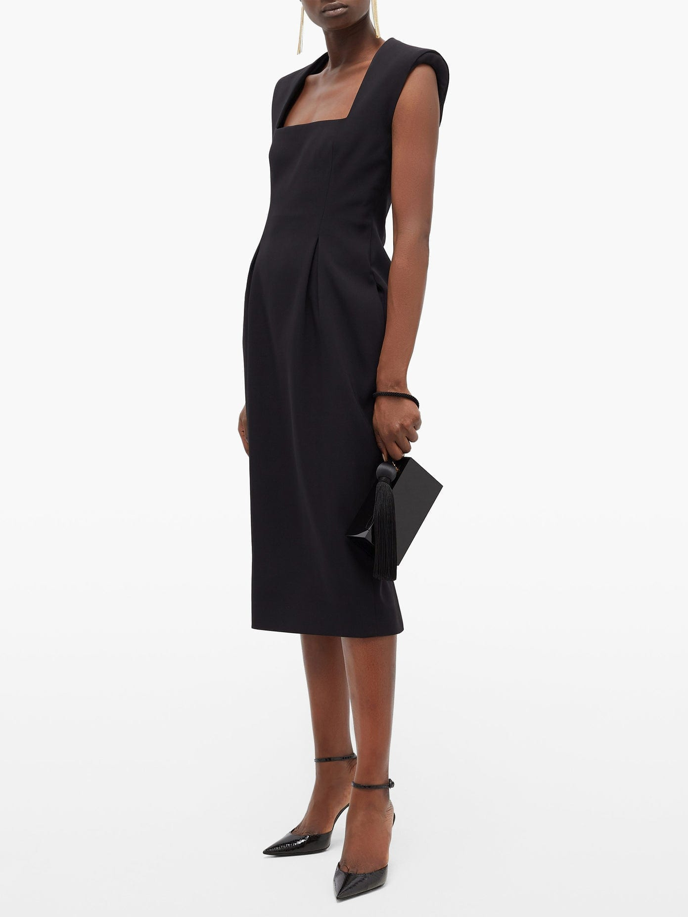 VERSACE Square-neck Pleated Crepe Midi Dress