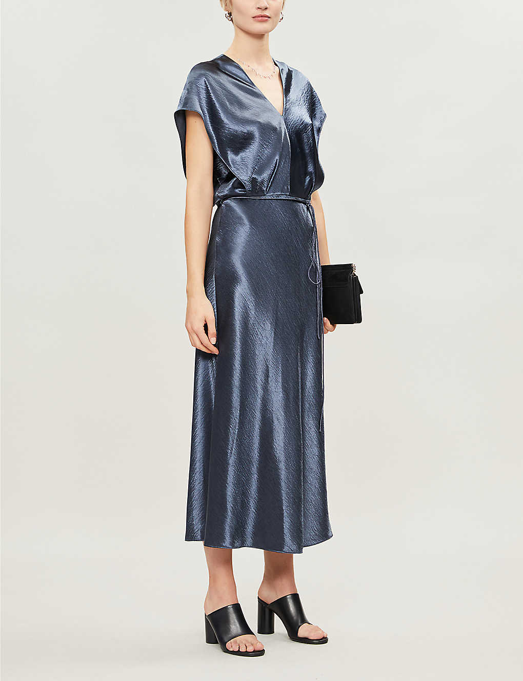VINCE Belted Satin-crepe Midi Dress