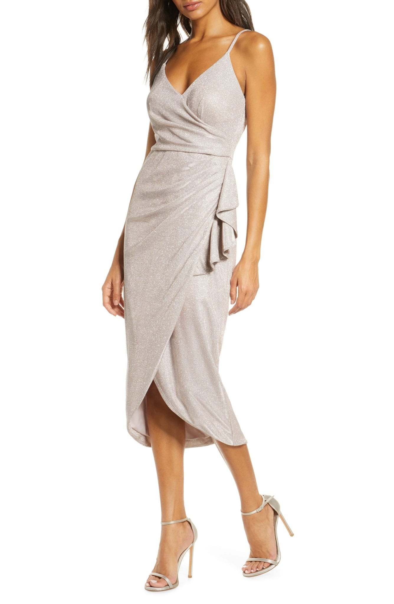 VINCE CAMUTO Glitter Knit High Low Cocktail Dress
