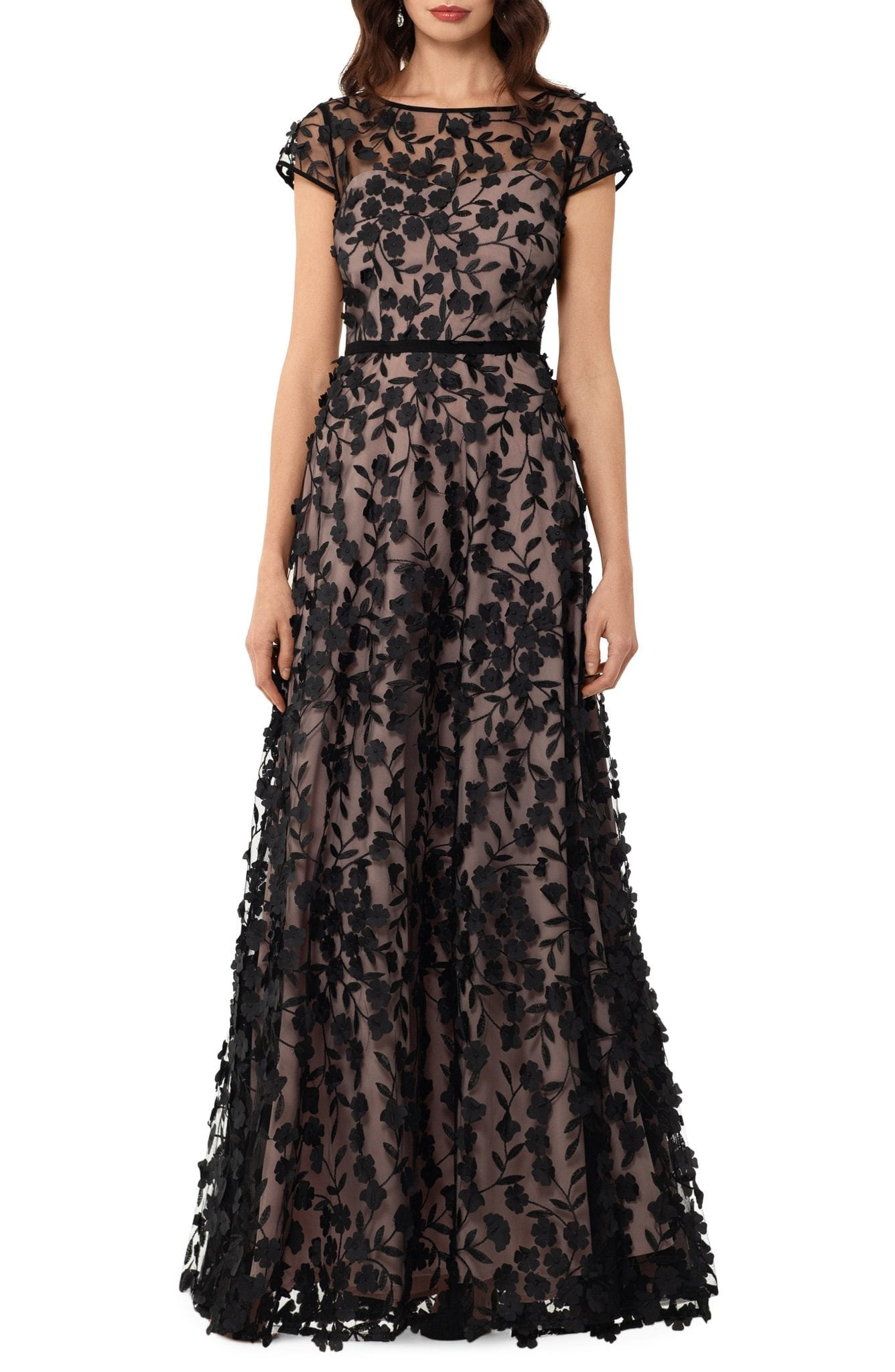 XSCAPE Floral Embroidered Tulle Gown
