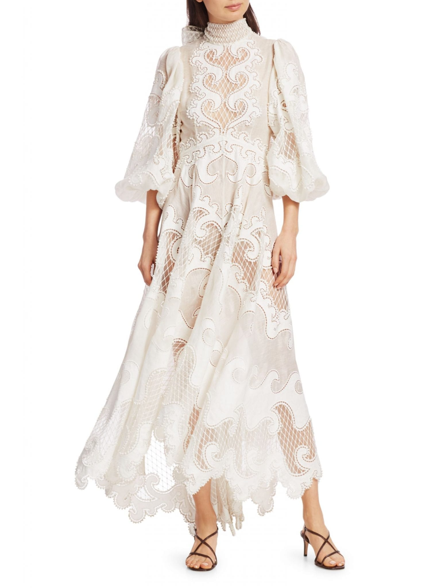 ZIMMERMANN Brightside Knot Embroidered Gown