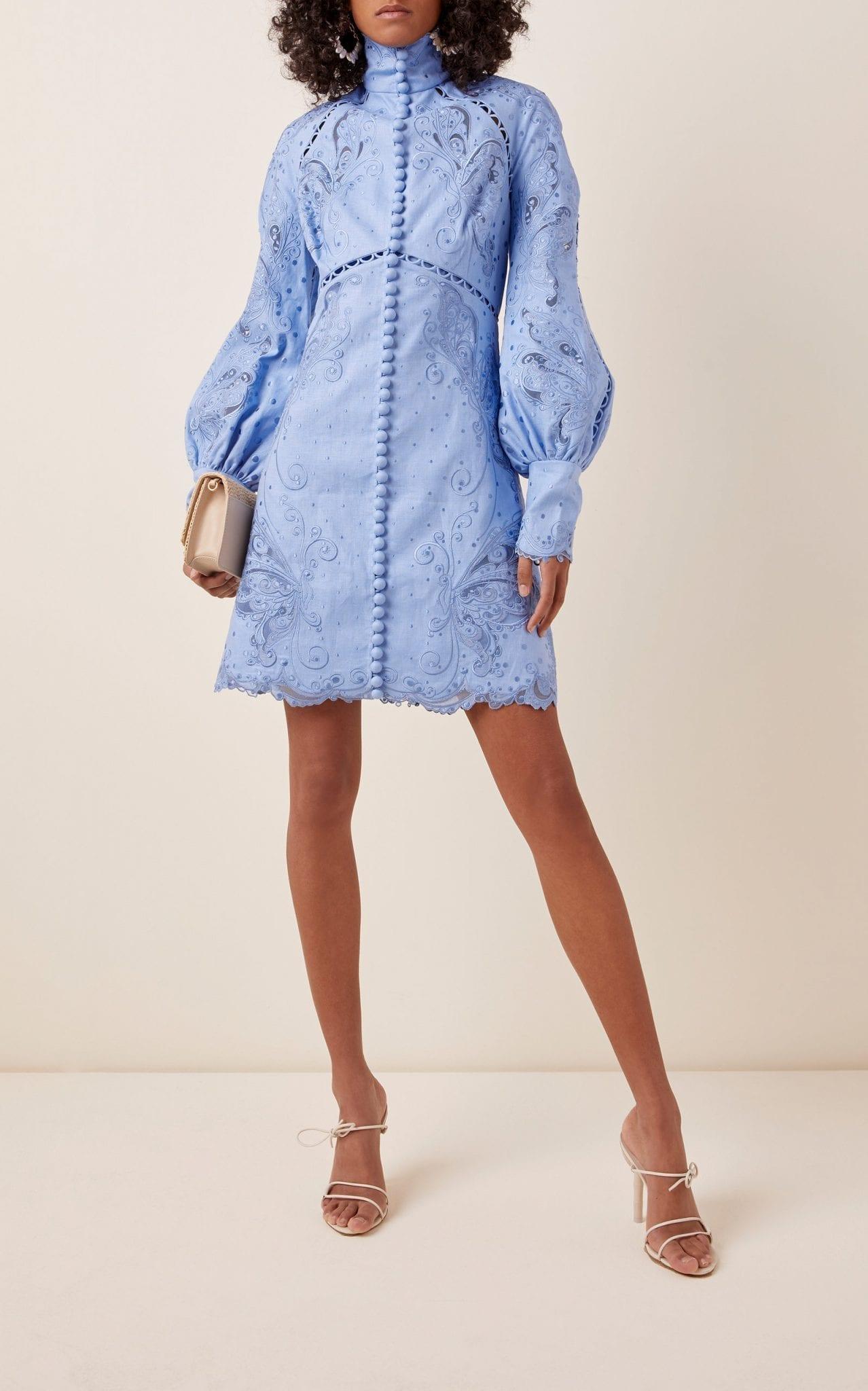 ZIMMERMANN Broderie Anglaise Silk And Linen-Blend Mini Dress