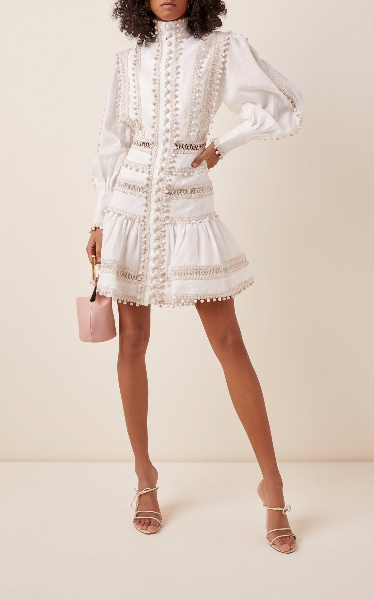 ZIMMERMANN Embroidered Button-Detailed Ramie Mini Dress