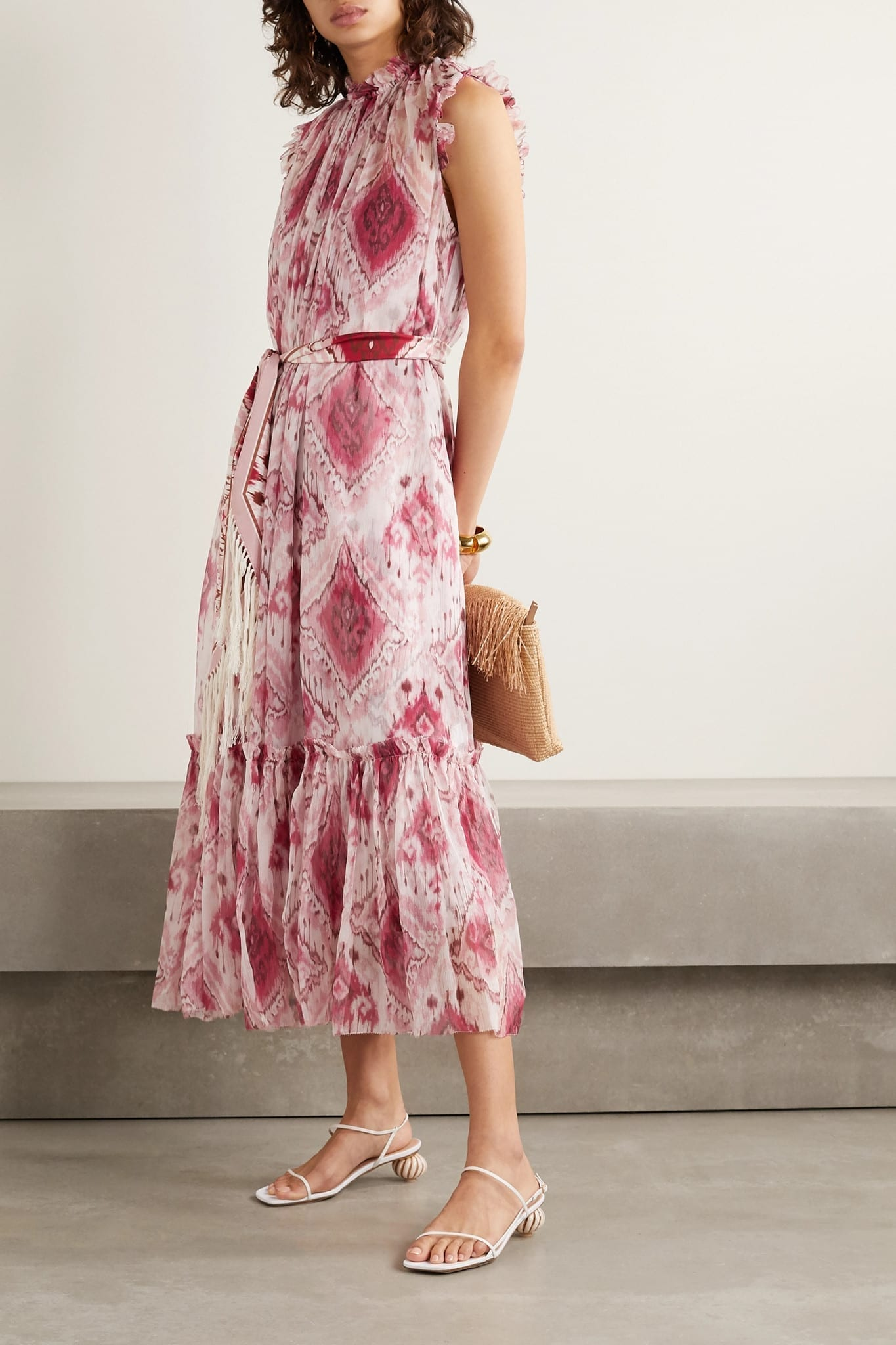 ZIMMERMANN Wavelength Belted Printed Ruffled Silk-crepon Midi Dress
