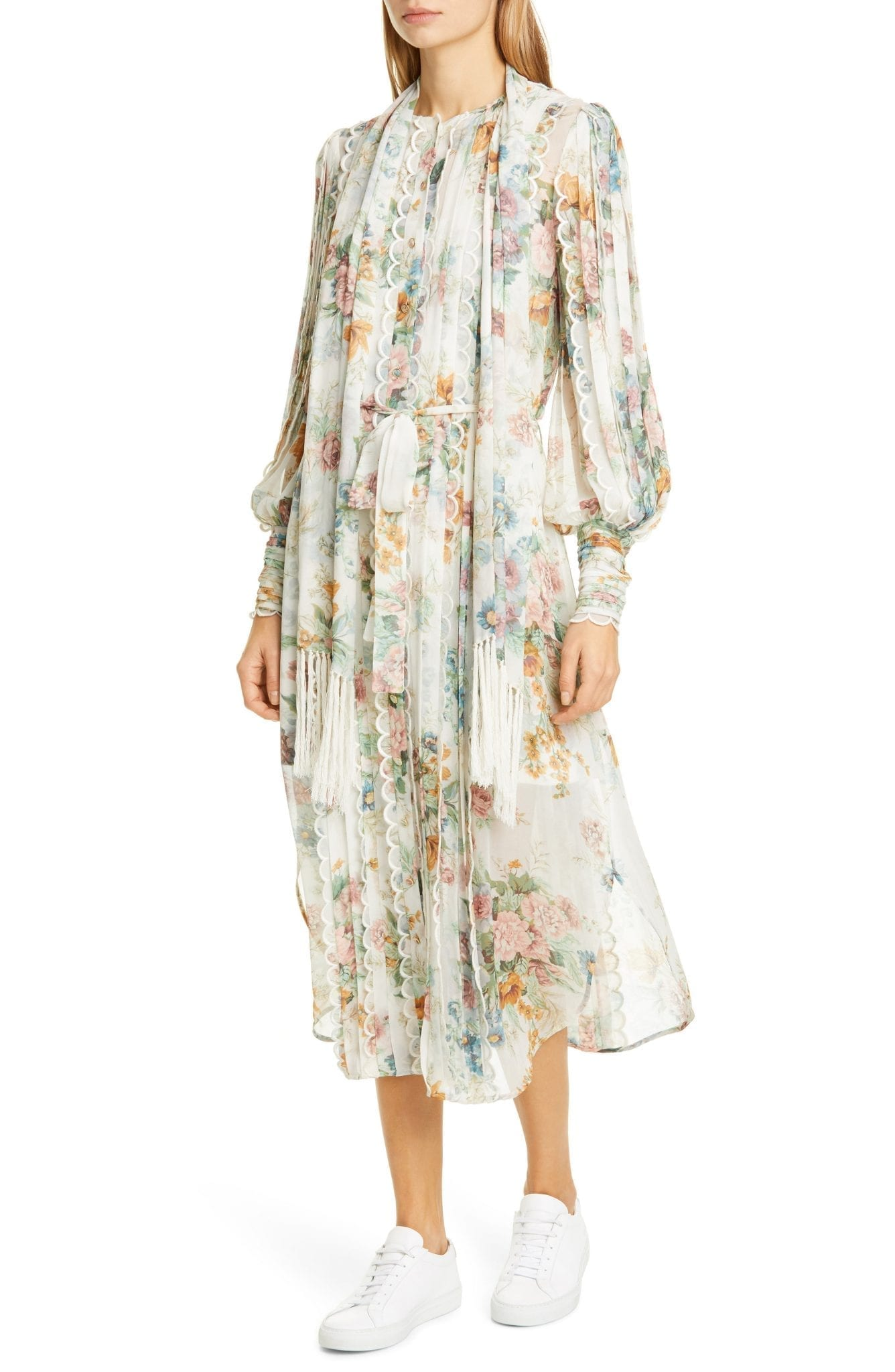 ZIMMERMANN Wavelength Long Sleeve Floral Silk Midi Dress