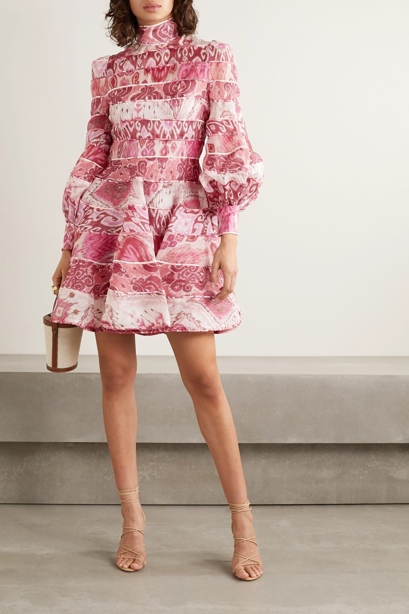 ZIMMERMANN Wavelength Paneled Printed Linen And Silk-blend Mini Dress