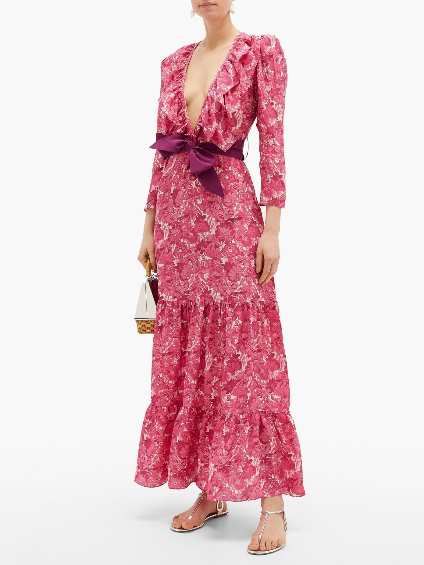 ADRIANA DEGREAS Ruffled V-neck Floral-print Silk Maxi Dress