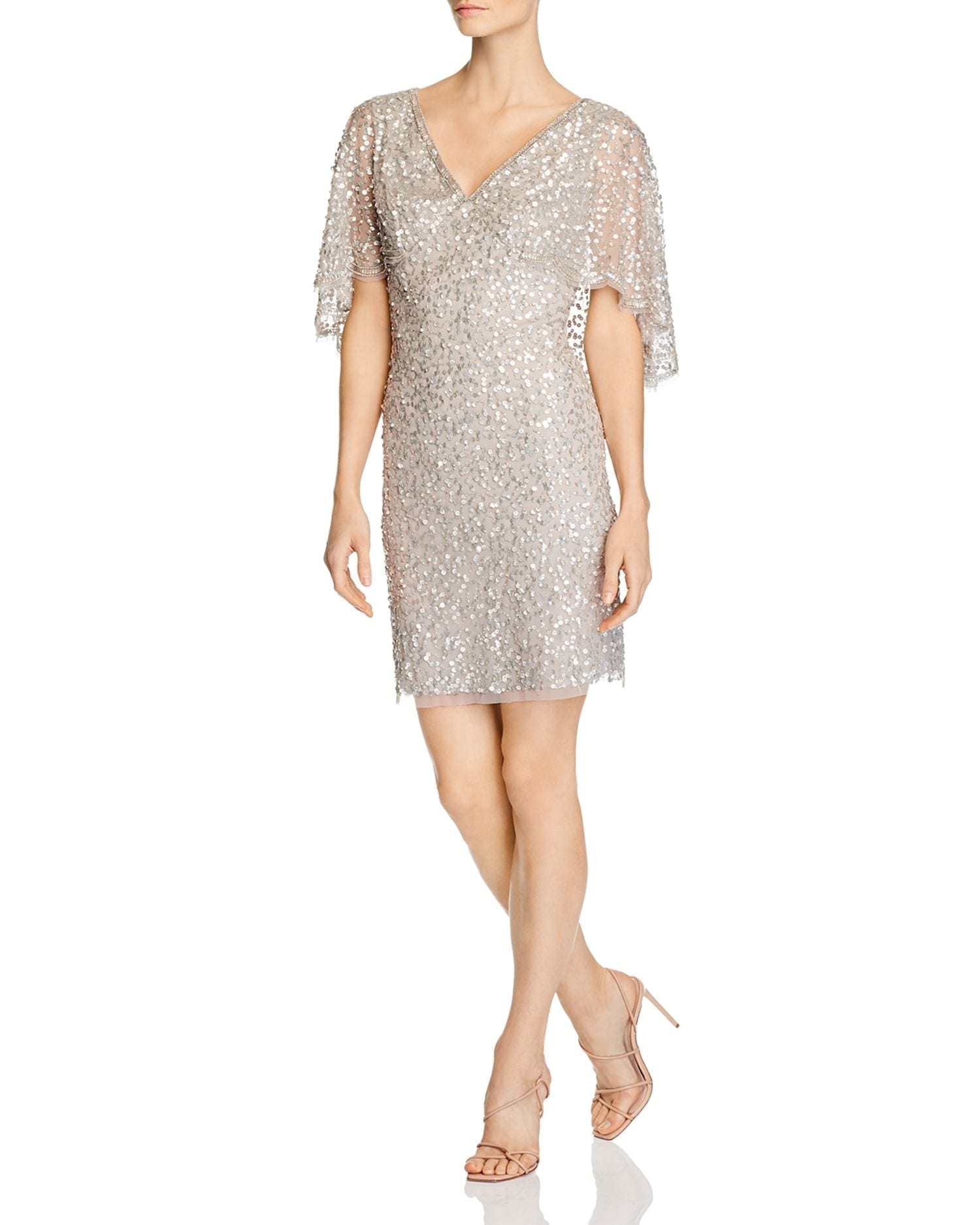 ADRIANNA PAPELL Beaded Cape-Sleeve Dress