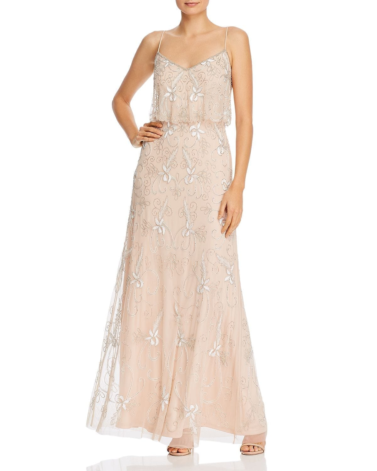 ADRIANNA PAPELL Beaded Popover Gown