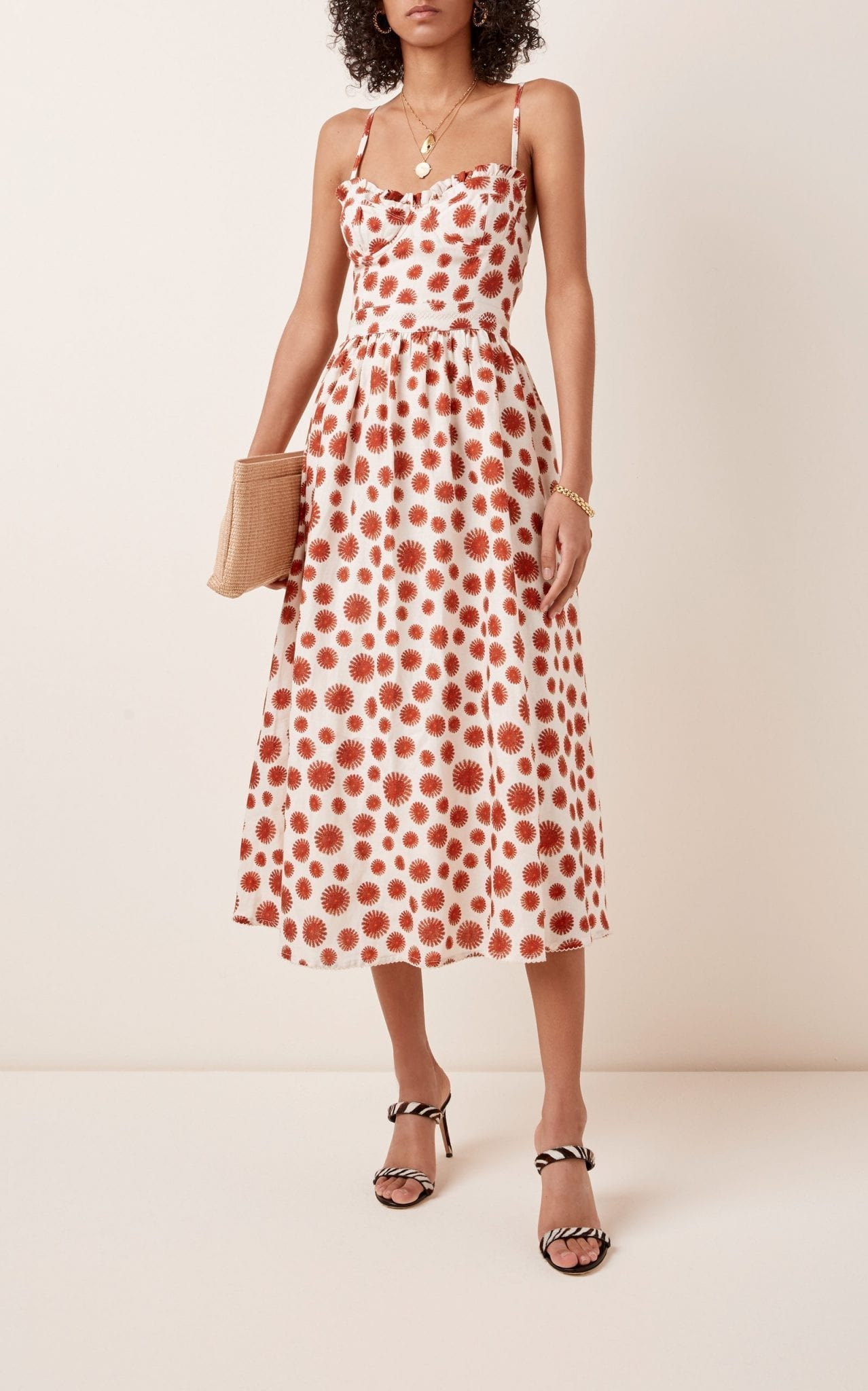 AGUA BY AGUA BENDITA Acacia Erizos Printed Linen Midi Dress