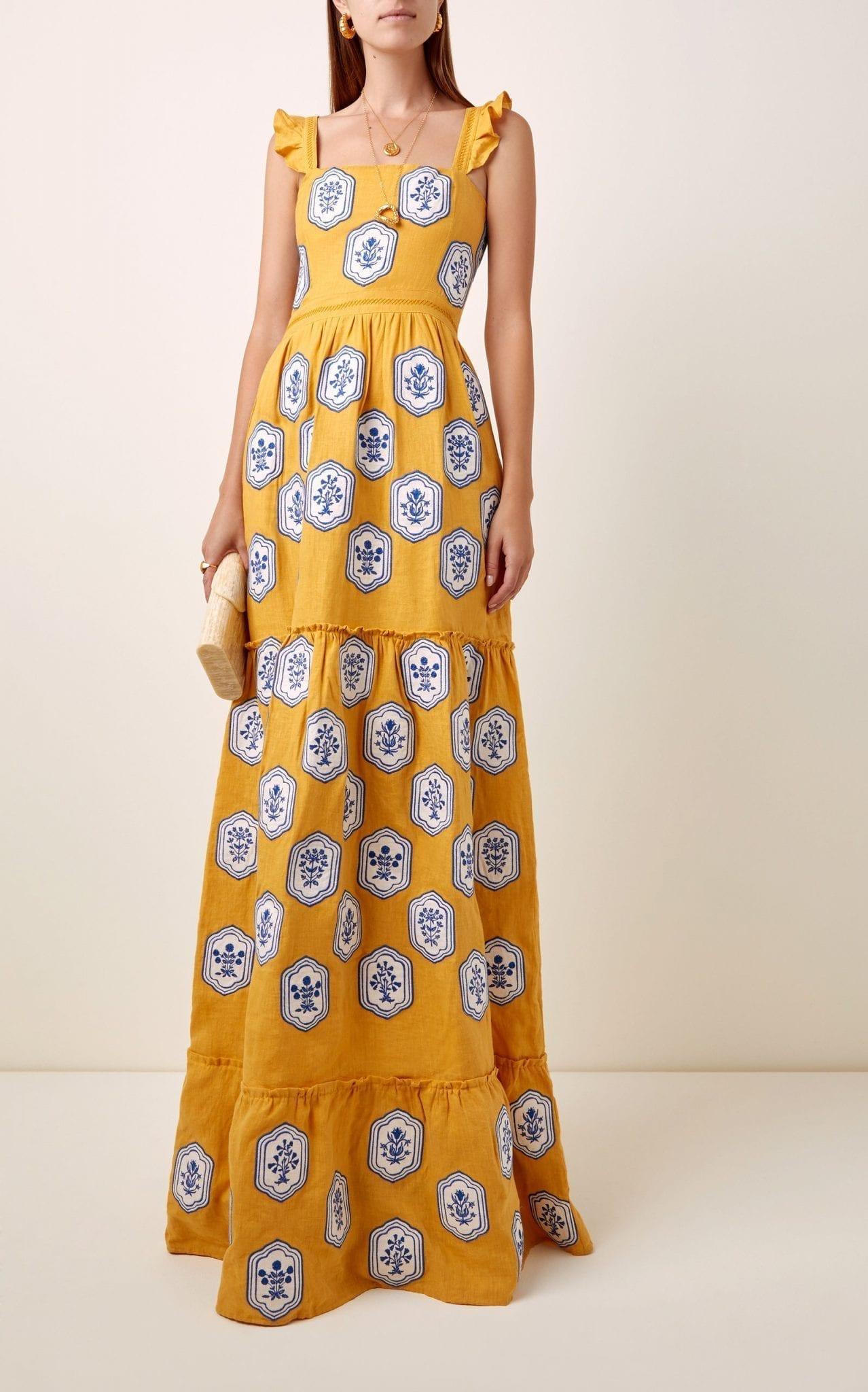 AGUA BY AGUA BENDITA Herbarium Embroidered Linen Maxi Dress