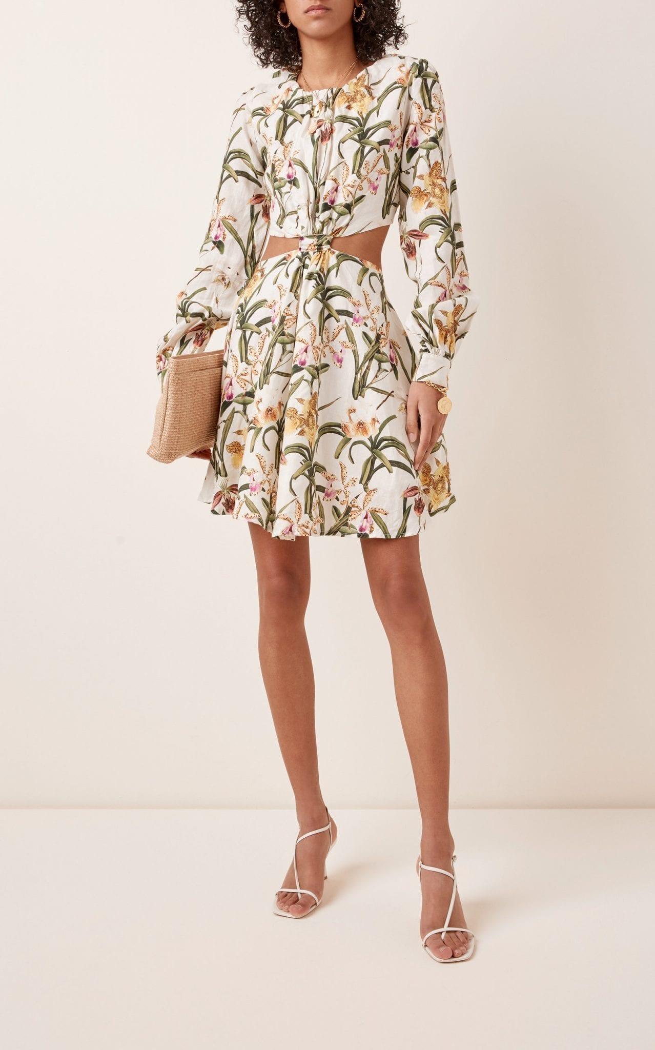 AGUA BY AGUA BENDITA Parana Flora Linen Mini Dress