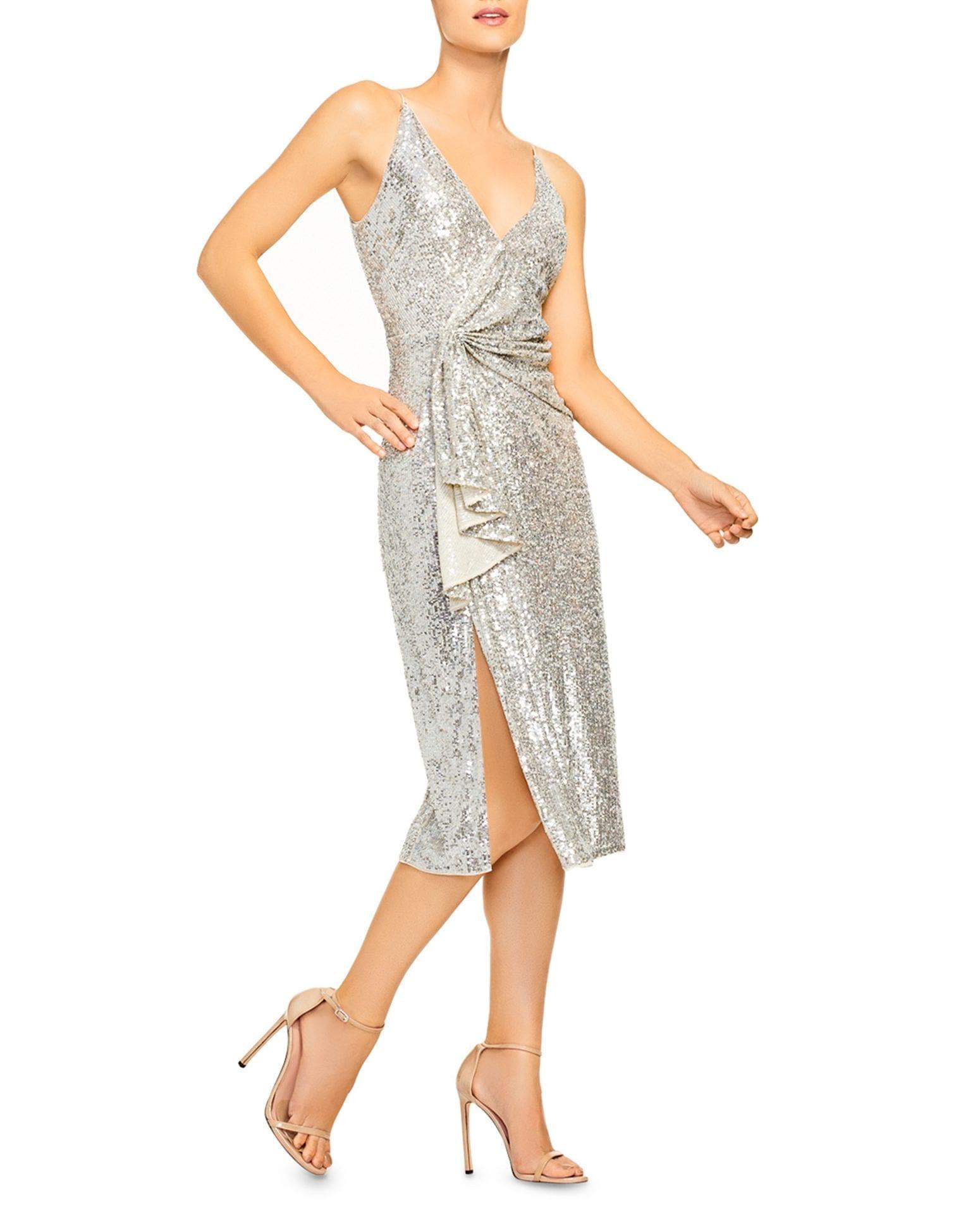AIDAN BY AIDAN MATTOX Draped Sequinned Midi Dress