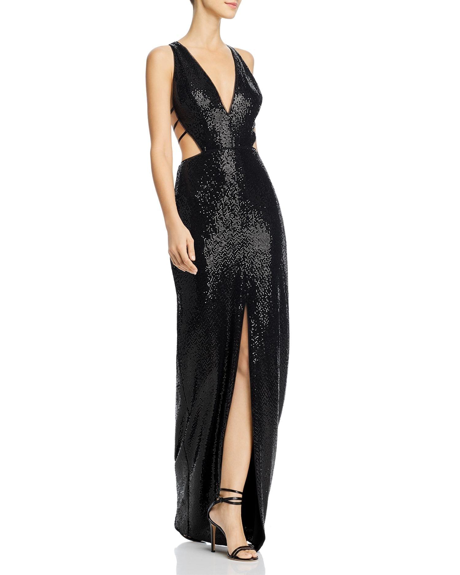 AIDAN BY AIDAN MATTOX Strappy Cutout Sequin Gown