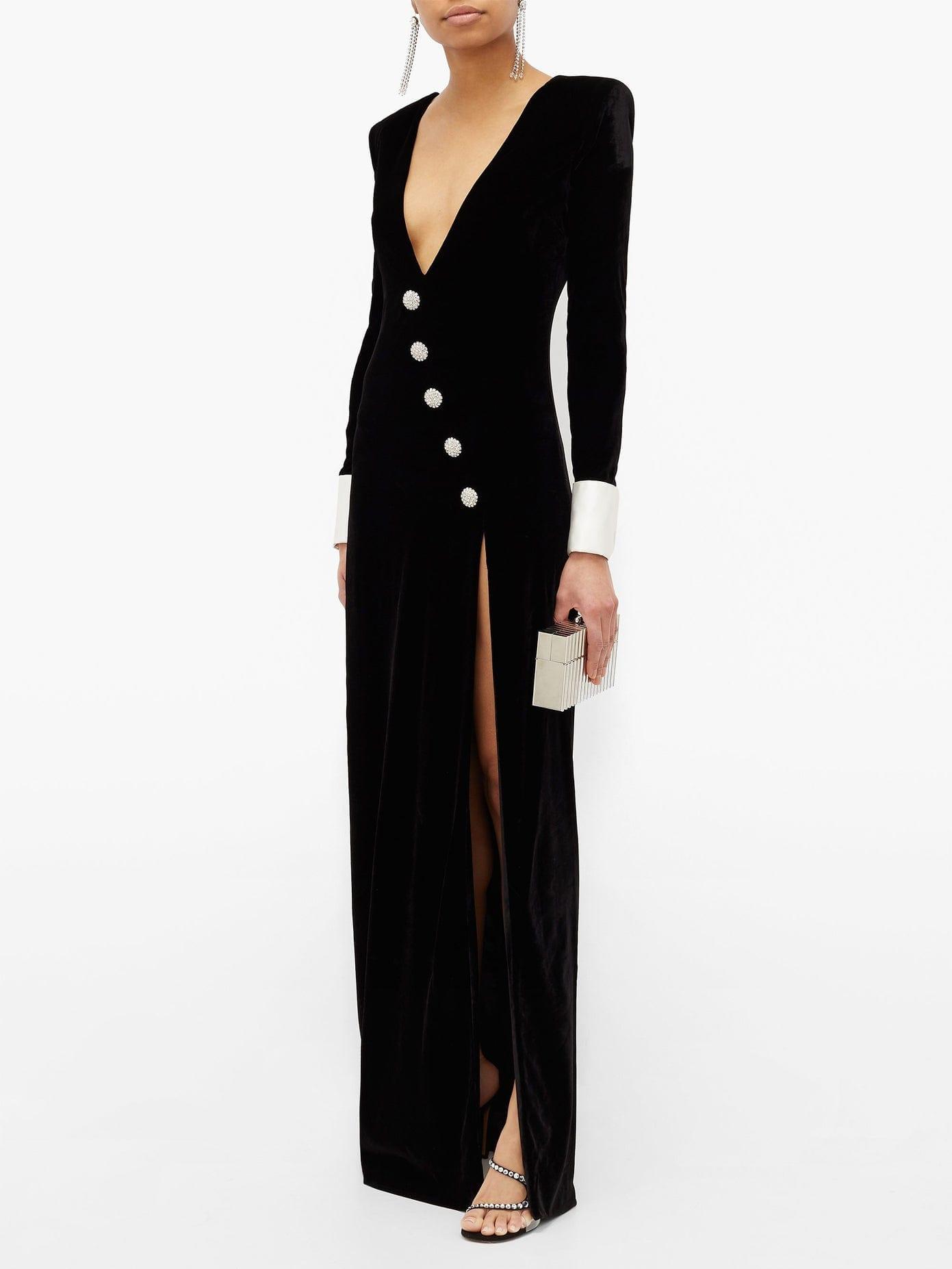ALESSANDRA RICH Crystal-Embellished Velvet Gown