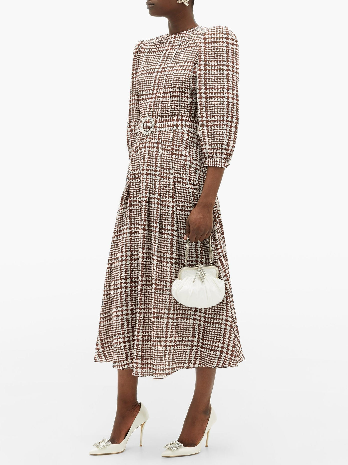 ALESSANDRA RICH Crystal-belt Pleated Houndstooth Silk Midi Dress