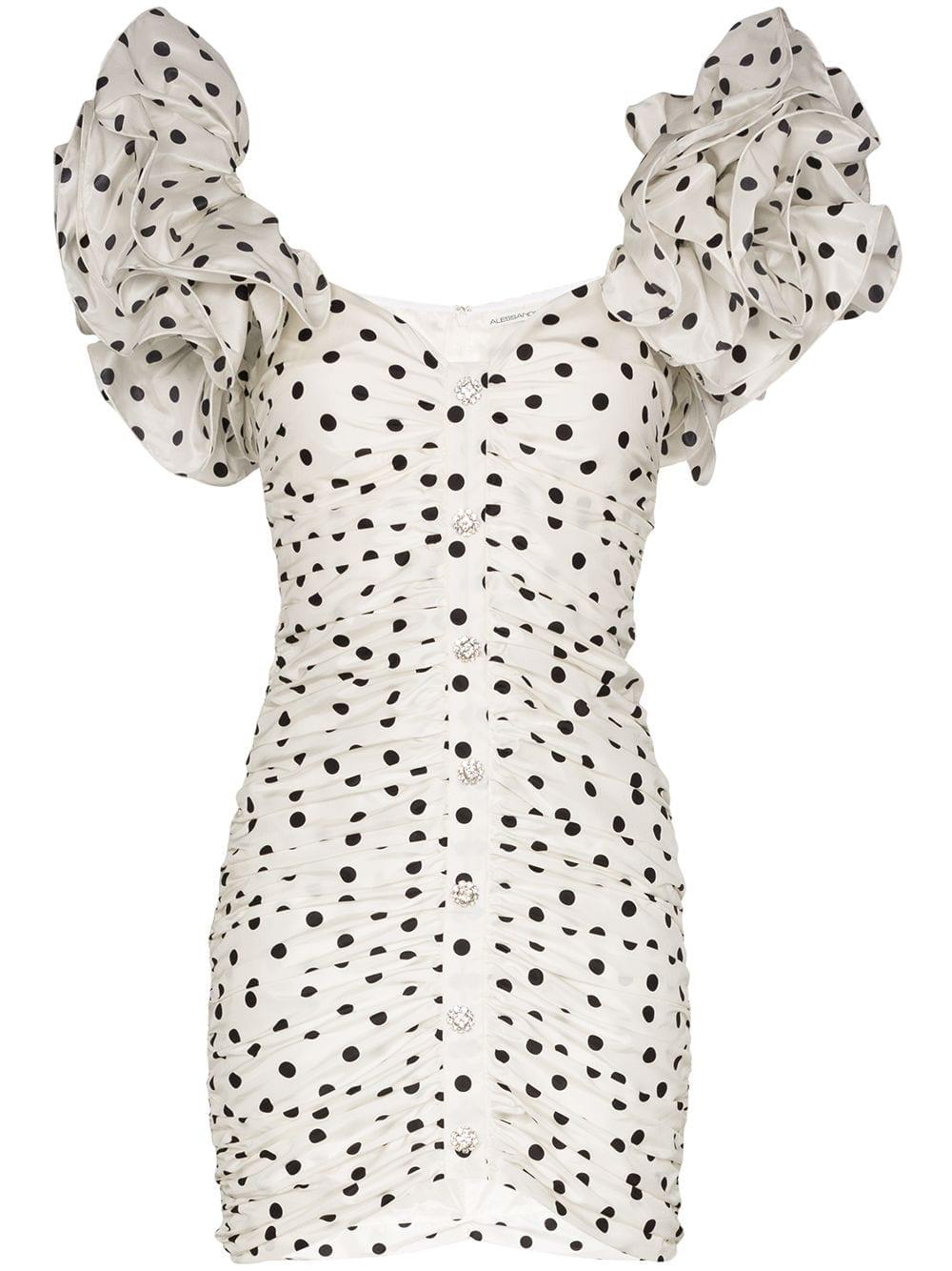 ALESSANDRA RICH Polka Dot Puff-sleeve Mini Dress