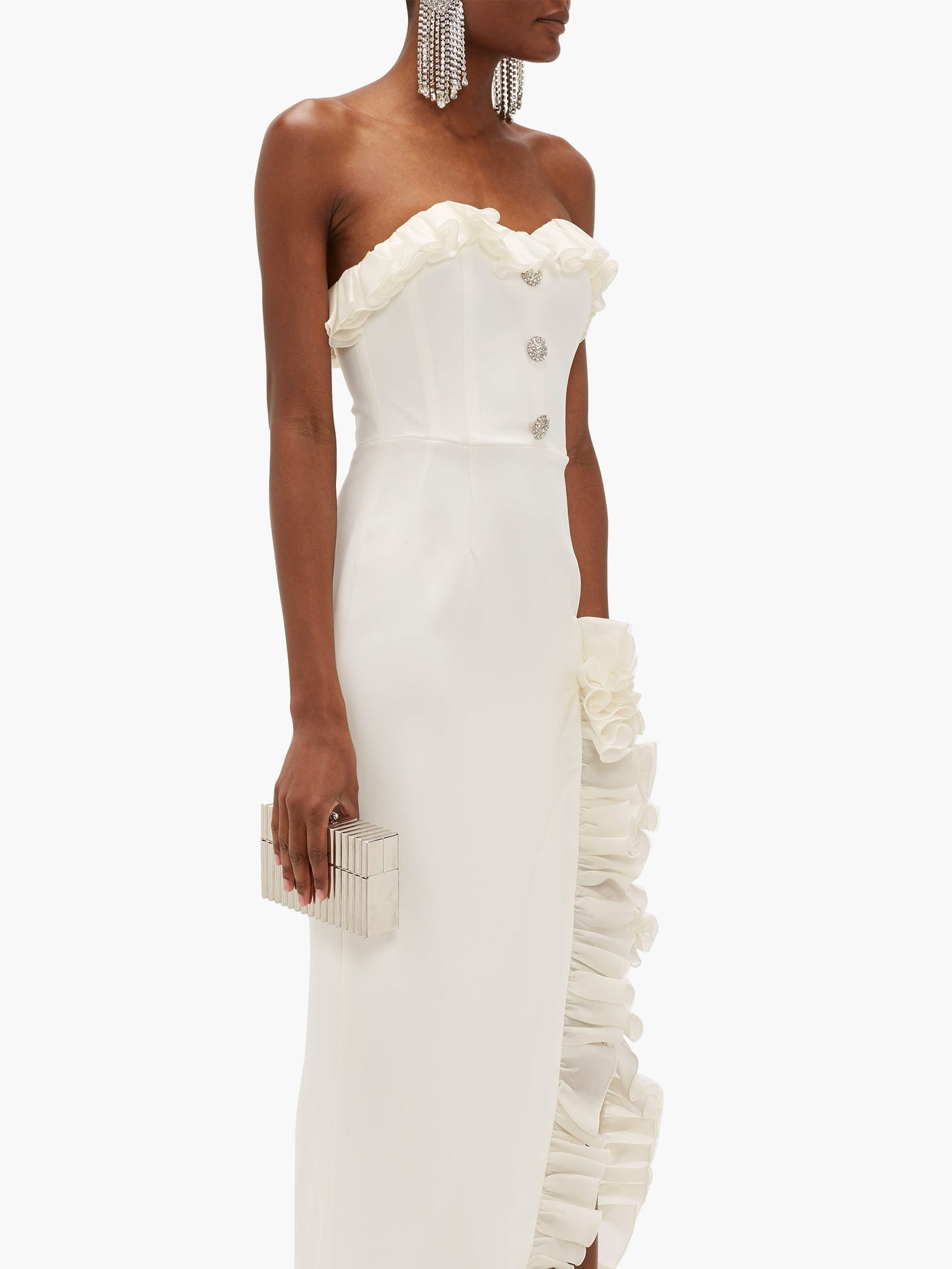 ALESSANDRA RICH Strapless Ruffled Crystal-button Crepe Maxi Dress