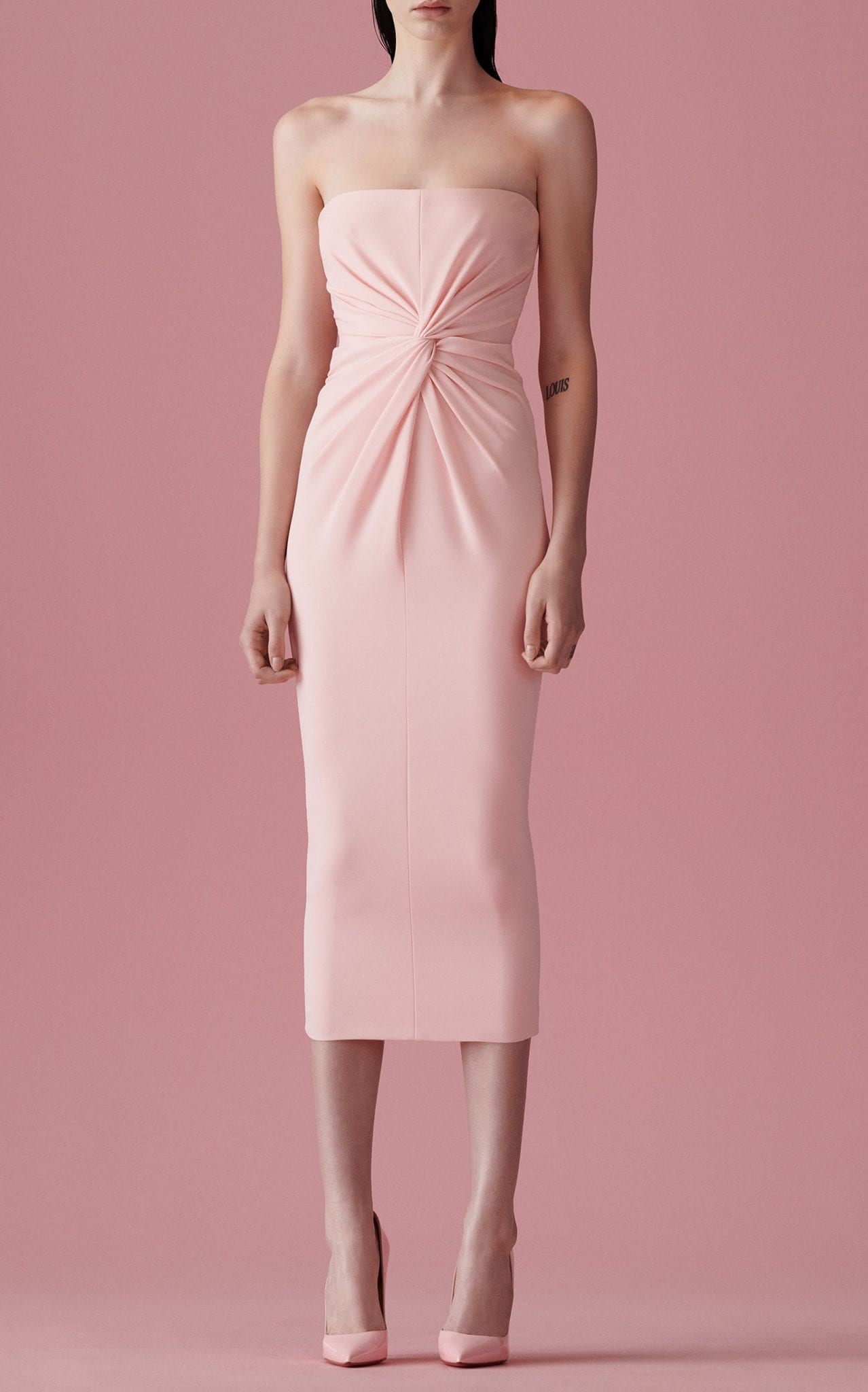 ALEX PERRY Lindsey Ruched Crepe Midi Dress