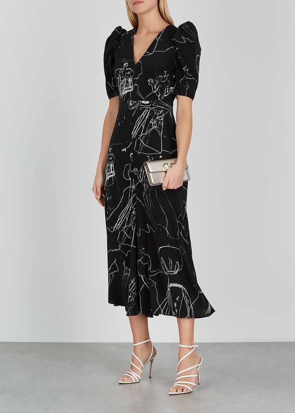 ALEXANDER MCQUEEN Black Printed Silk Dress