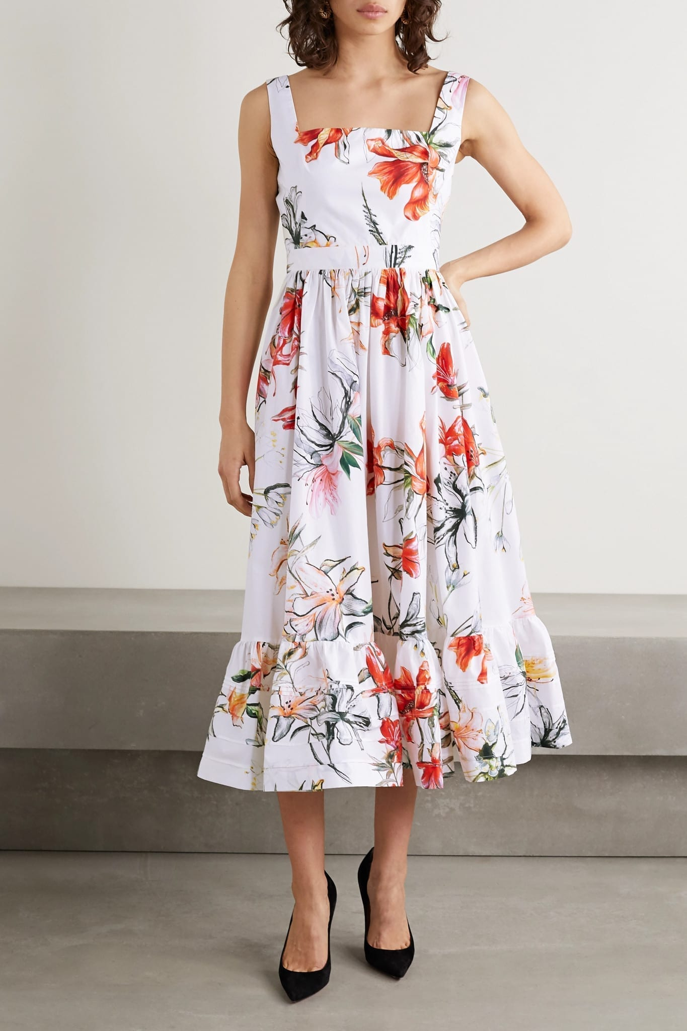ALEXANDER MCQUEEN Floral-print Cotton-poplin Midi Dress