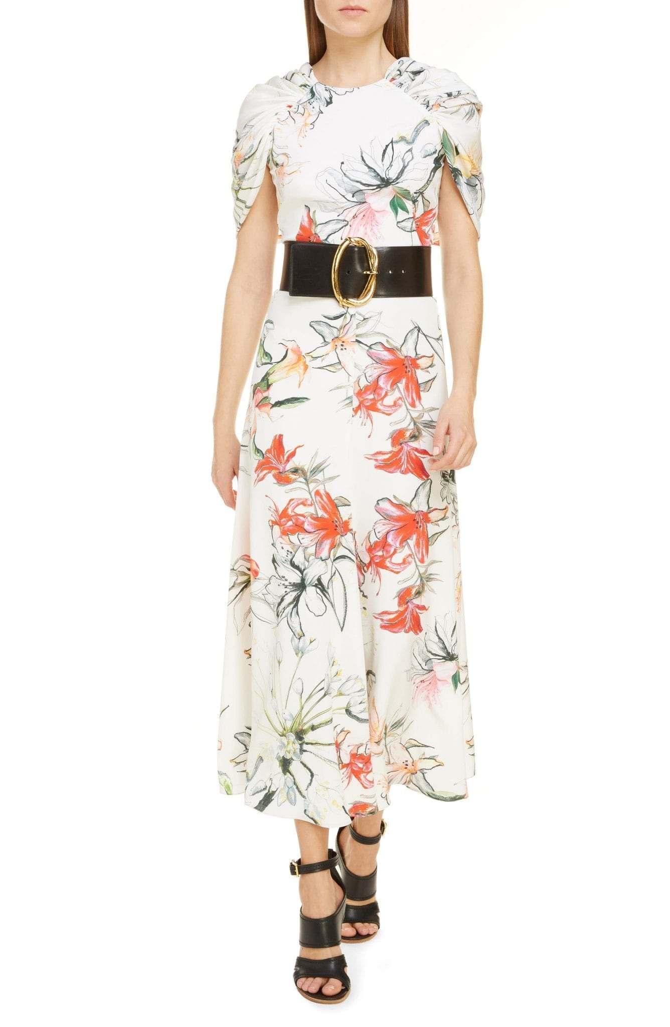 ALEXANDER MCQUEEN Gathered Cape Back Floral Crêpe de Chine Maxi Dress