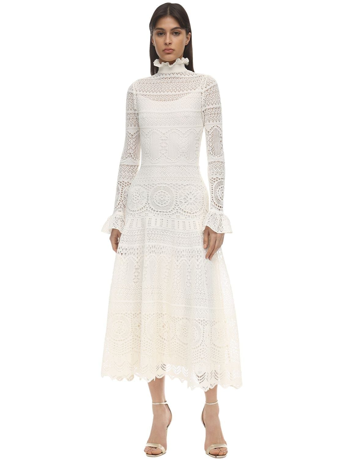 ALEXANDER MCQUEEN Long Lace Macramé Ruffles Dress