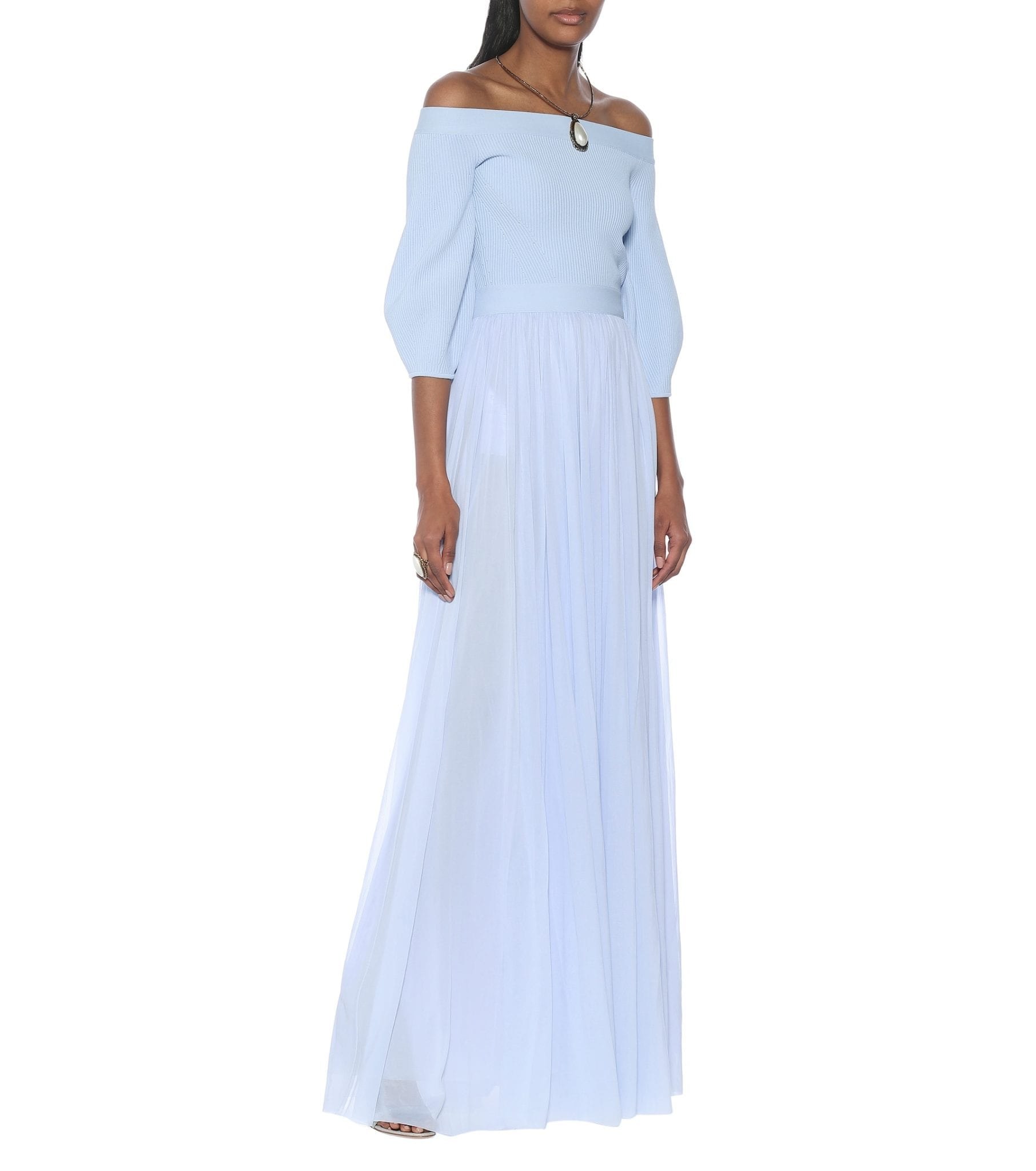 ALEXANDER MCQUEEN Off-shoulder Jersey Maxi Dress