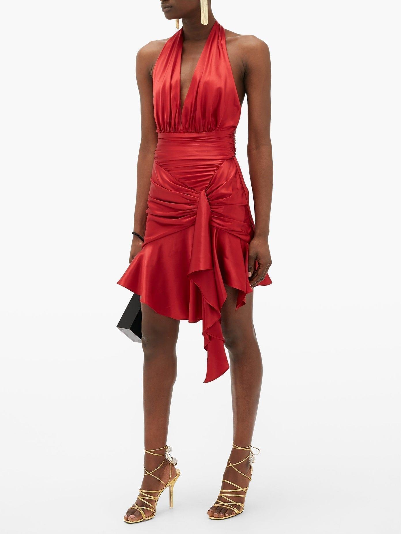 ALEXANDRE VAUTHIER Halterneck Ruched Silk-blend Satin Mini Dress