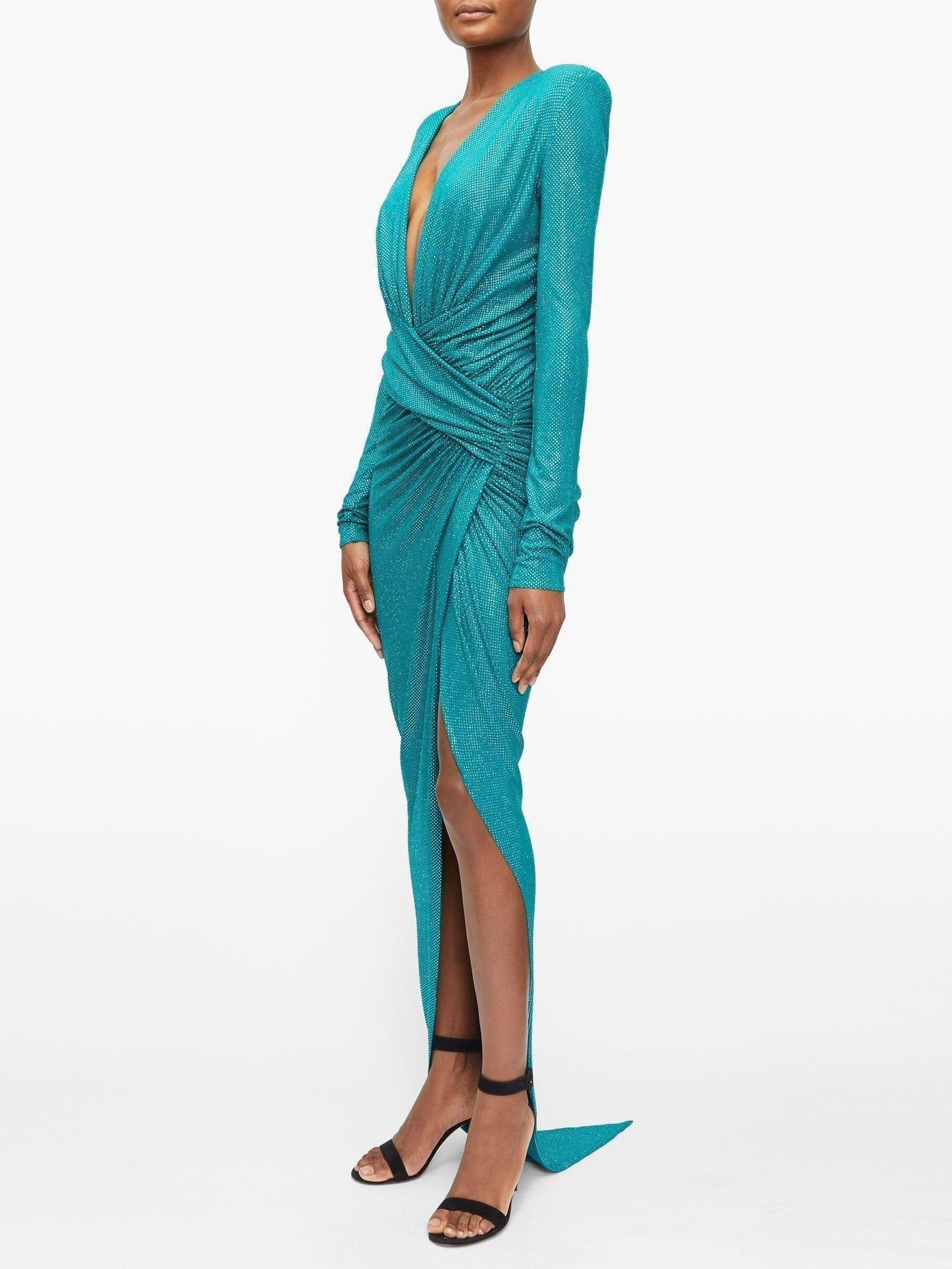 ALEXANDRE VAUTHIER Plunge-Neck Crystal-Embellished Slit-Front Gown