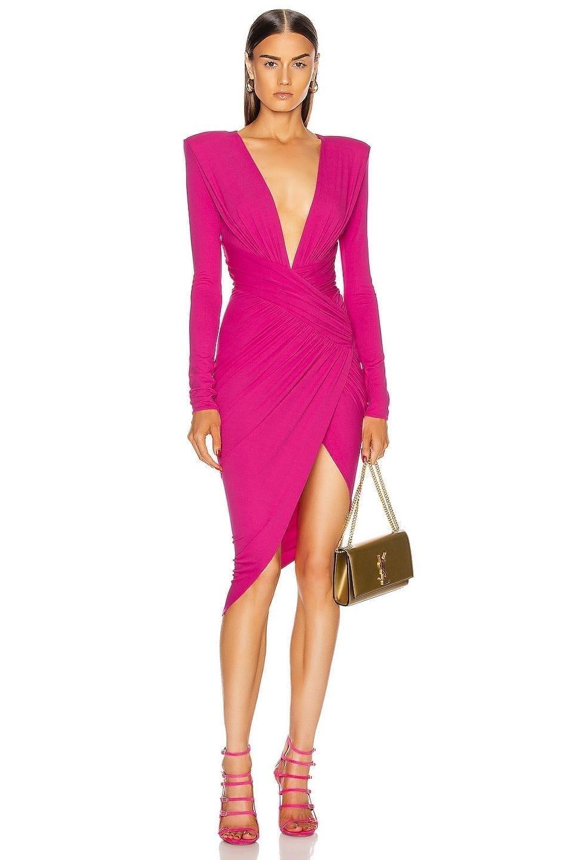 ALEXANDRE VAUTHIER Plunging Asymmetric Midi Dress
