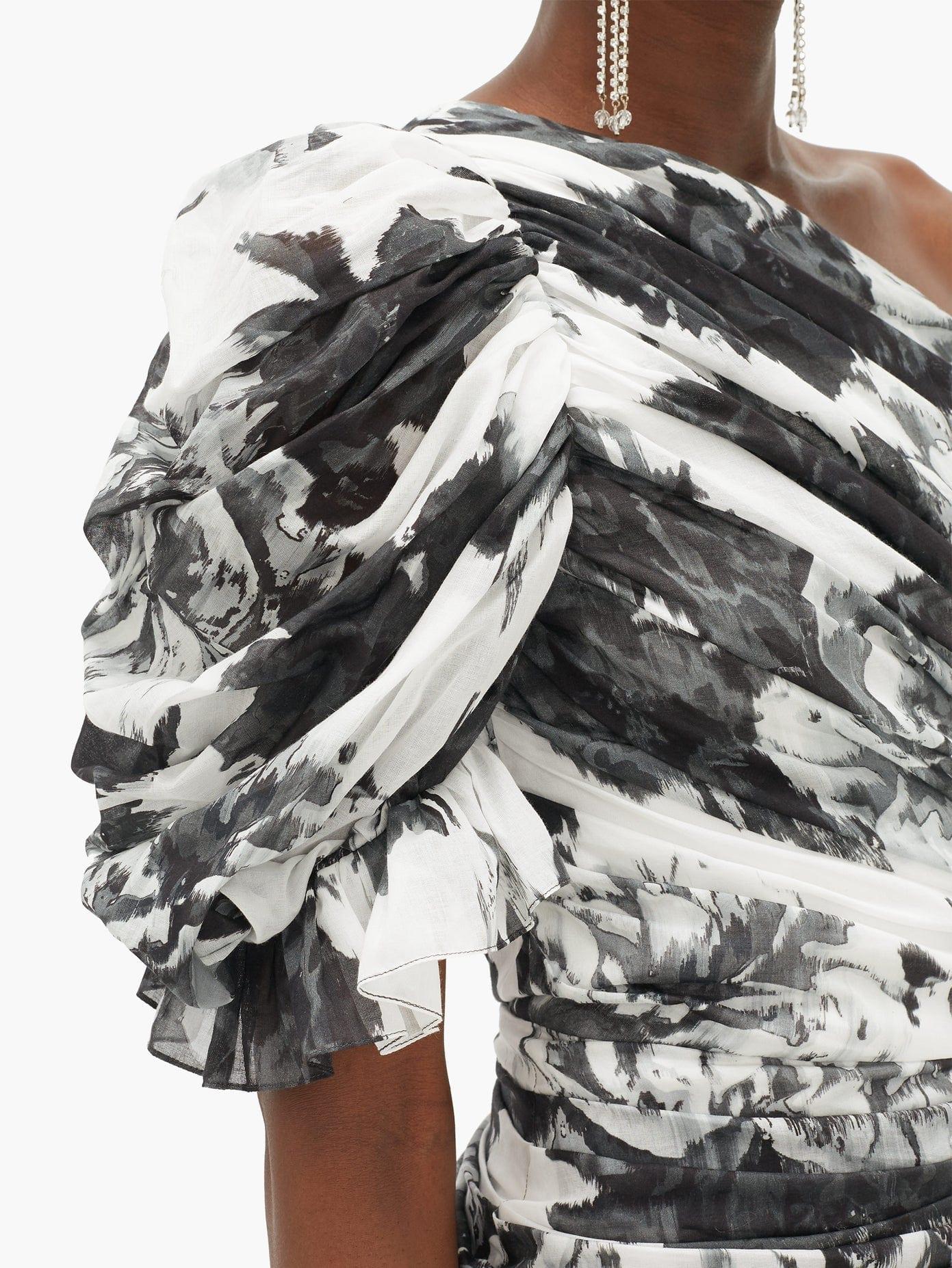 ALEXANDRE VAUTHIER Puff-shoulder Asymmetric Floral-print Mini Dress