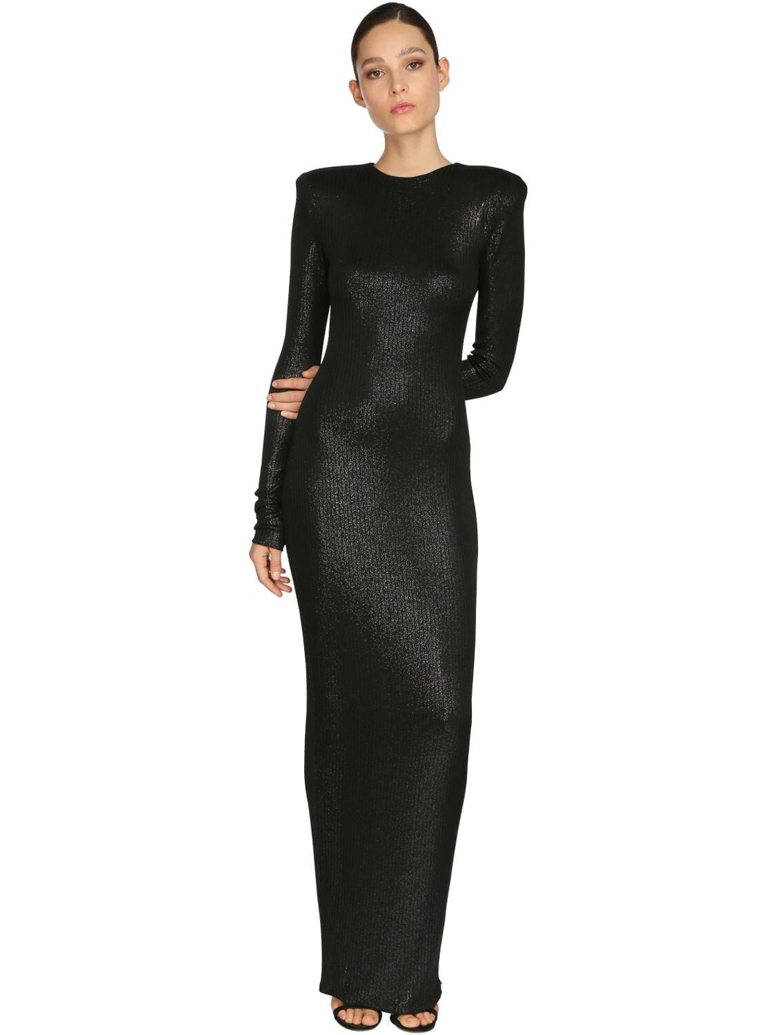 ALEXANDRE VAUTHIER Rib Jersey Lamé Long Dress