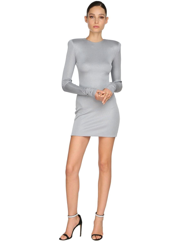 ALEXANDRE VAUTHIER Rib Jersey Lamé Mini Dress