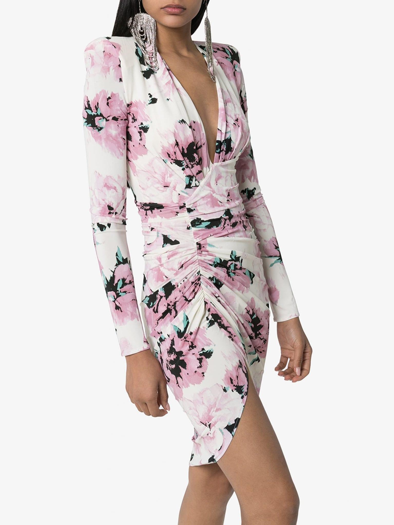 ALEXANDRE VAUTHIER Ruched Floral Print Mini Dress