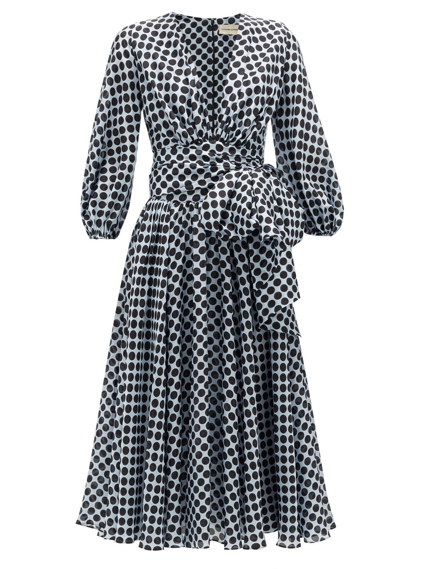 ALEXANDRE VAUTHIER Tie-Waist Dot-Print Silk Midi Dress